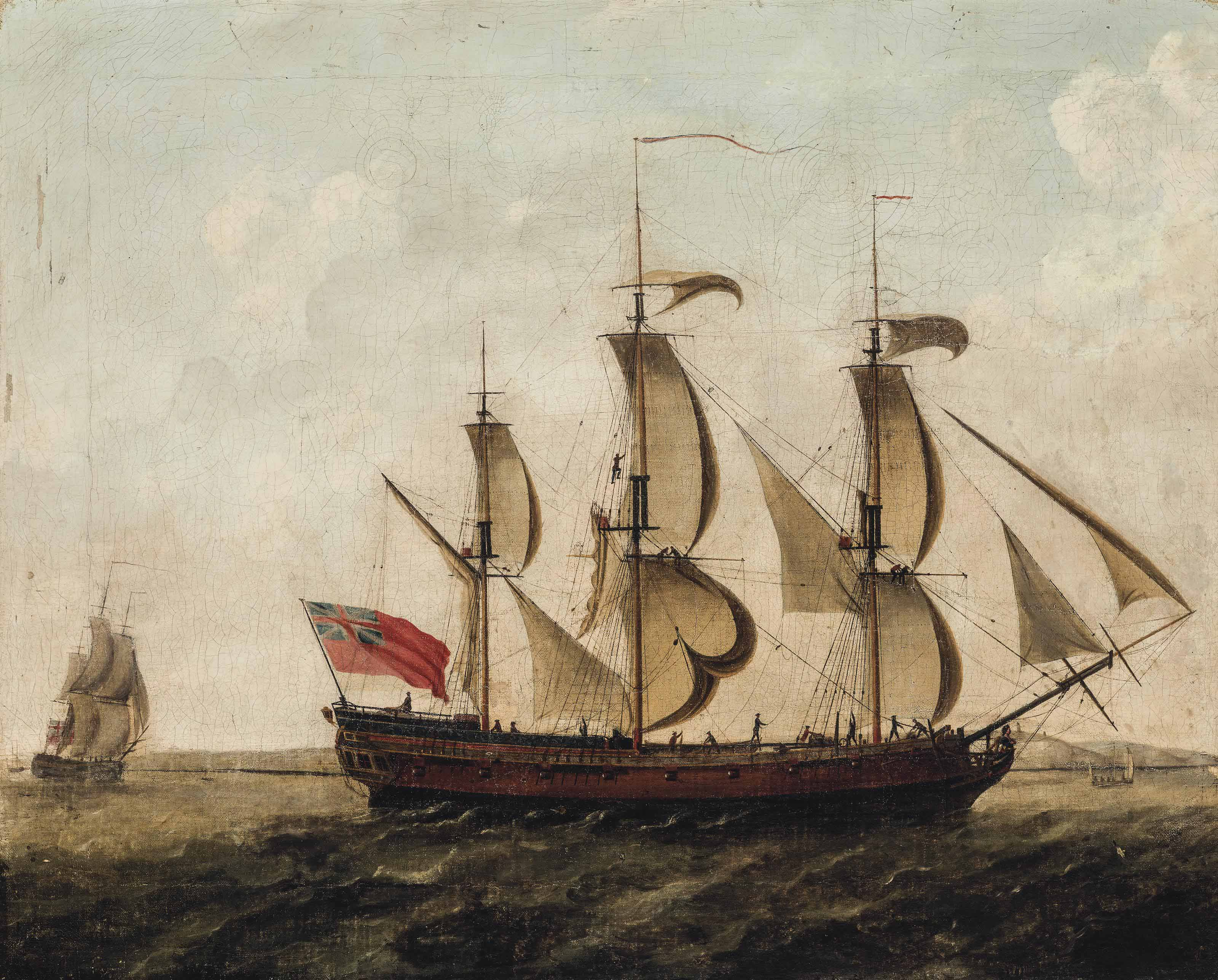 An East Indiaman in two positions off the South Foreland