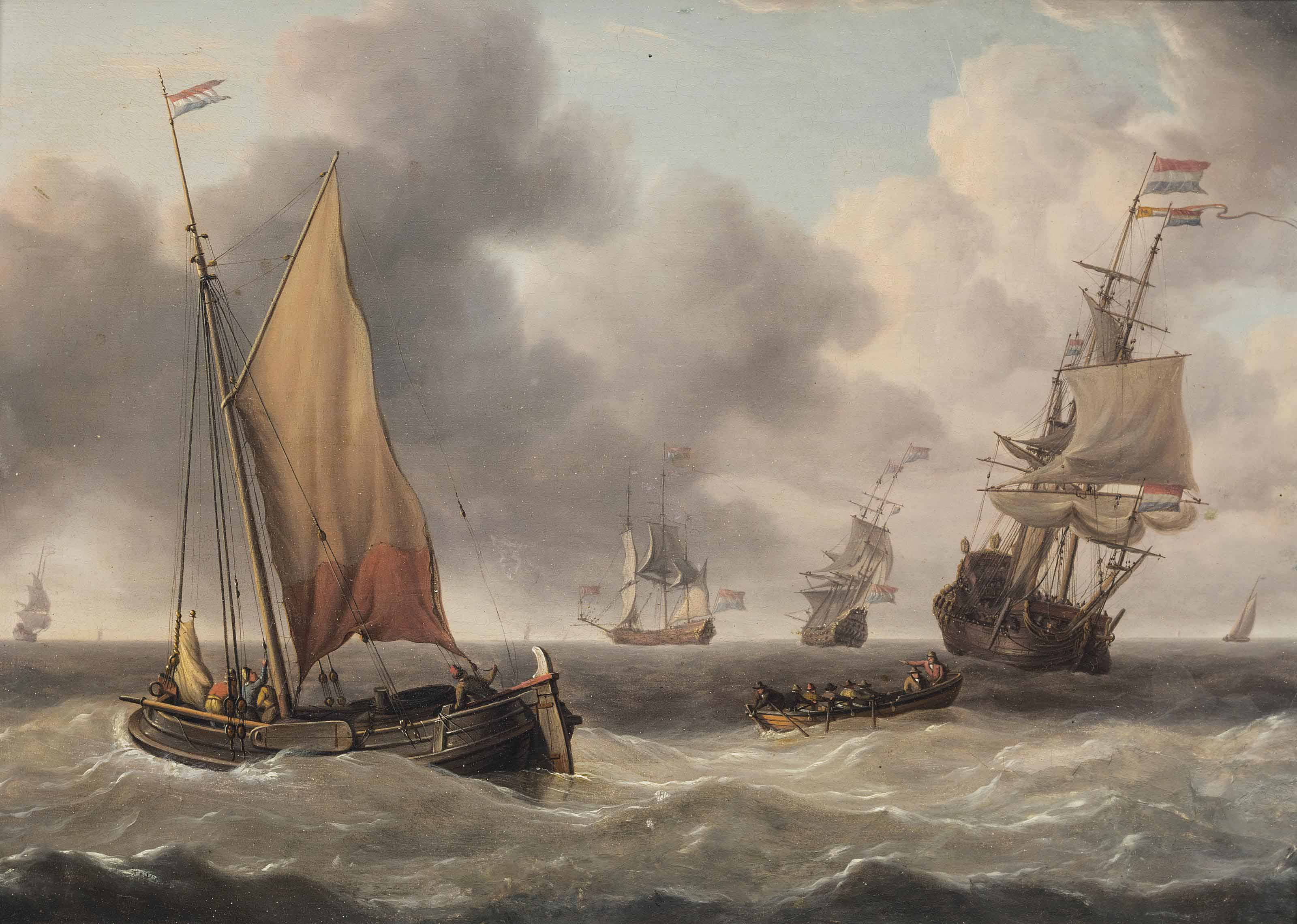 Dutch merchantman and a pink in congested waters