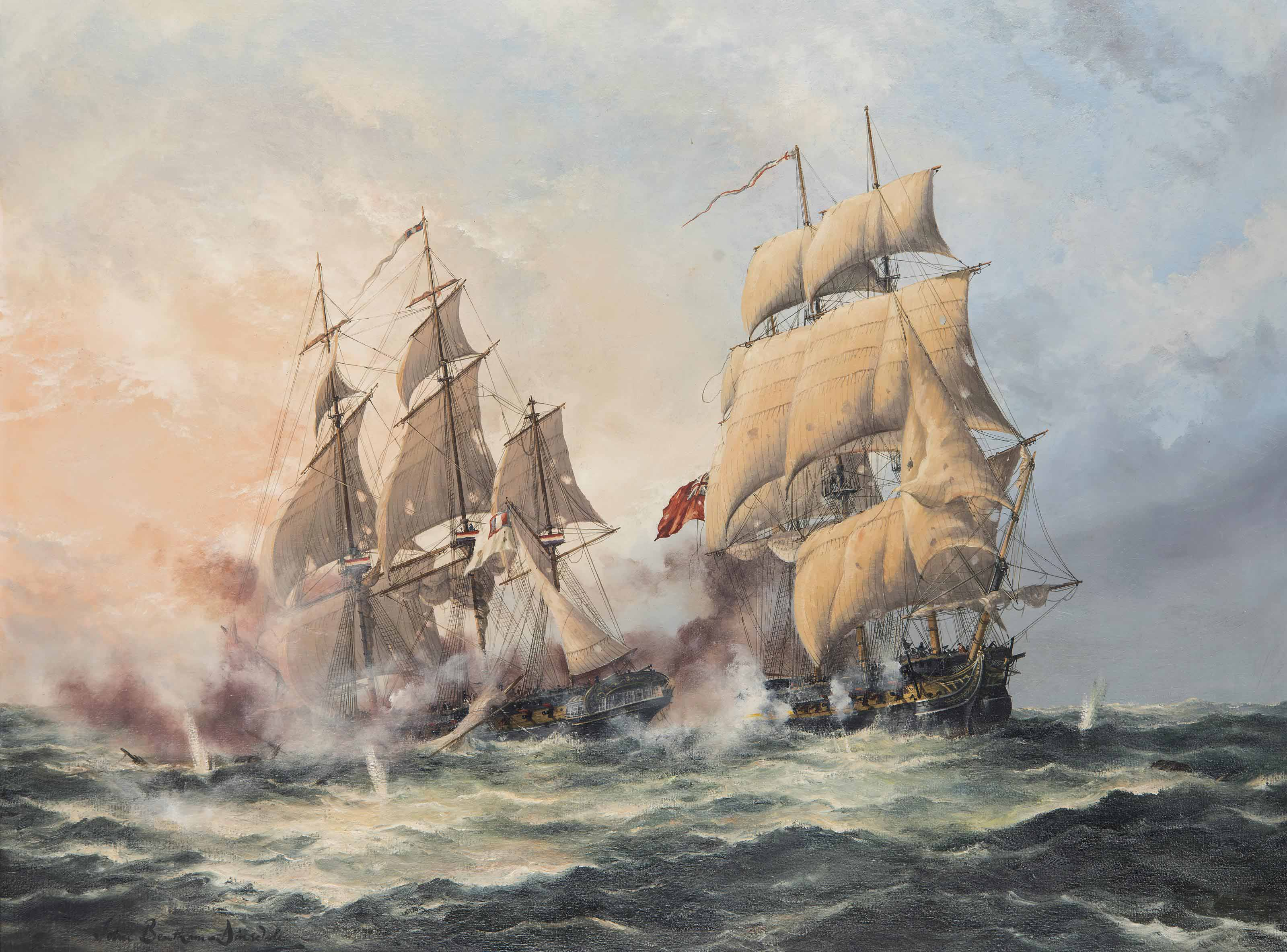 H.M.S. Crescent, under the command of Captain James Saumarez, capturing the French frigate Réunion off Cherbourg, 20 October 1793