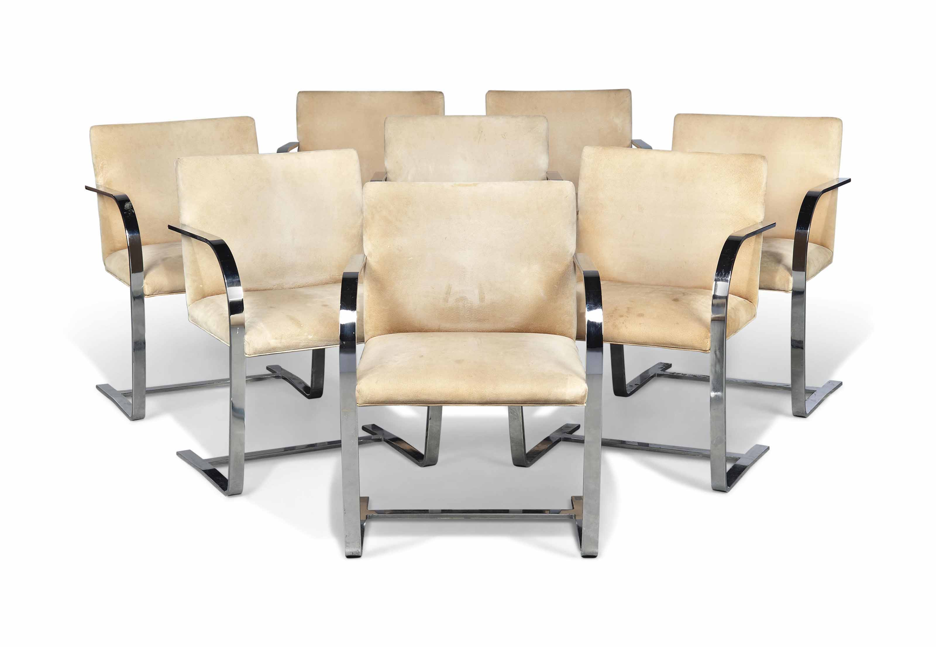 A SET OF EIGHT LUDWIG MIES VAN DER ROHE (1886-1969) 'BRNO' CHAIRS MADE BY KNOLL INTERNATIONAL