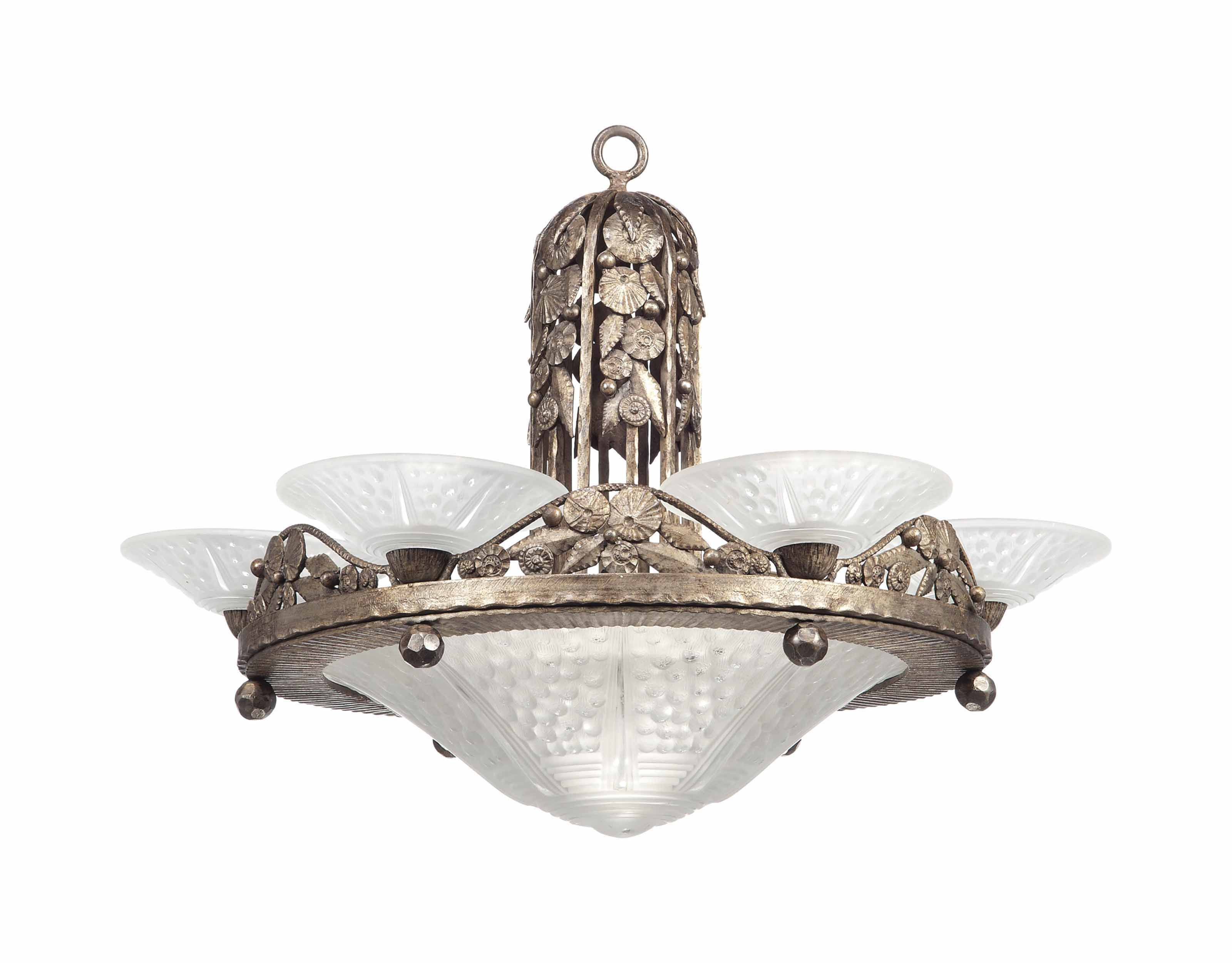 A FRENCH ART DECO WROUGHT-IRON CHANDELIER WITH MOULDED GLASS SHADES BY MULLER FRERES