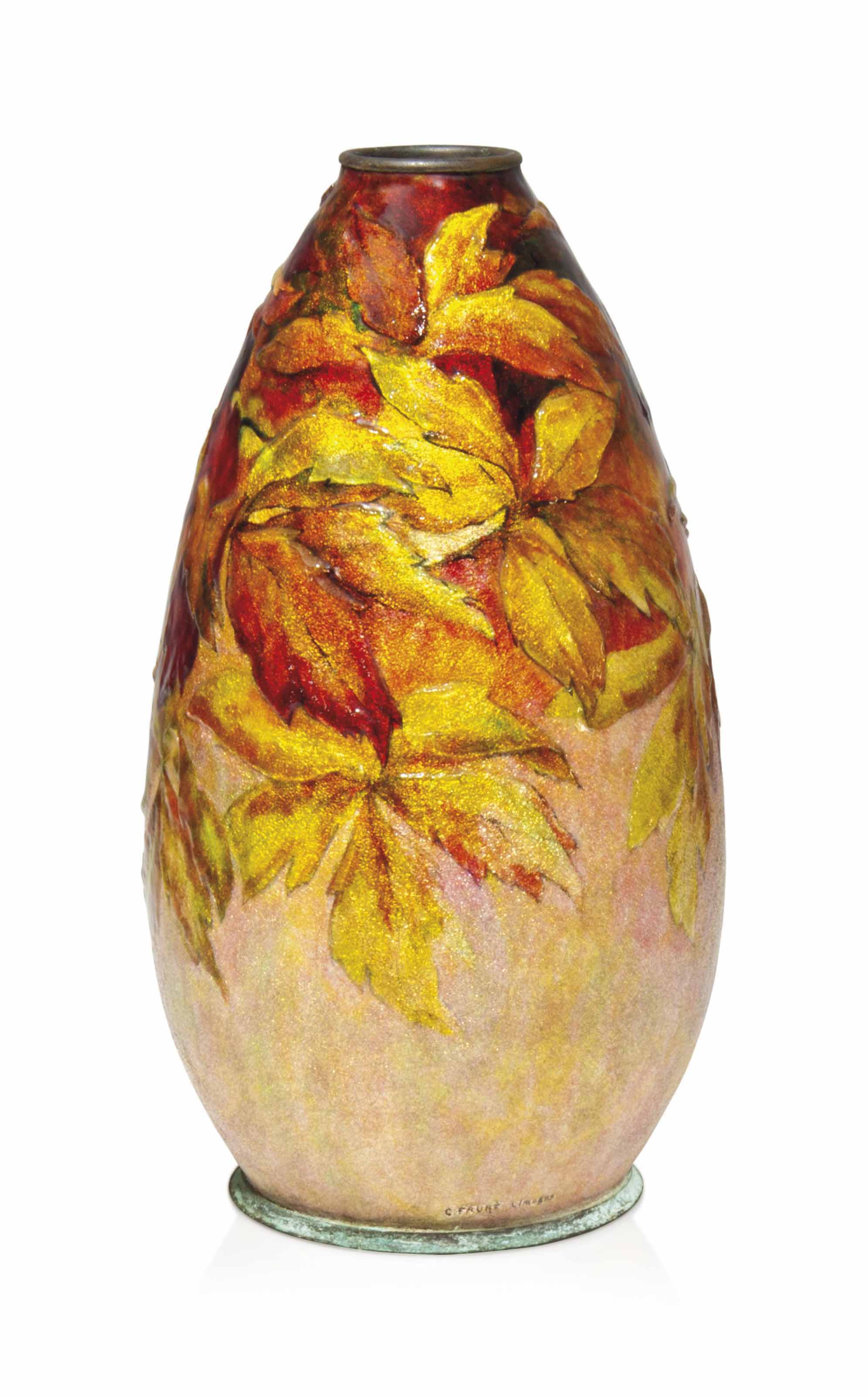 A CAMILLE FAURÉ (1874-1956) POLYCHROME ENAMELLED COPPER VASE DECORATED WITH AUTUMNAL LEAVES