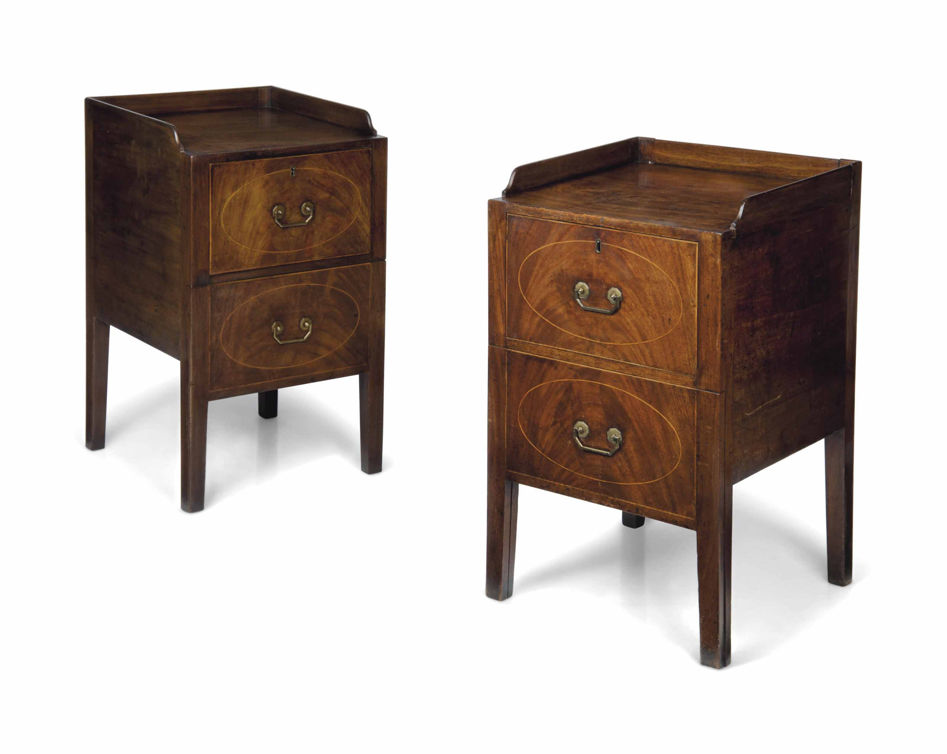 A PAIR OF LATE GEORGE III MAHOGANY TRAY-TOP BEDSIDE CUPBOARD...
