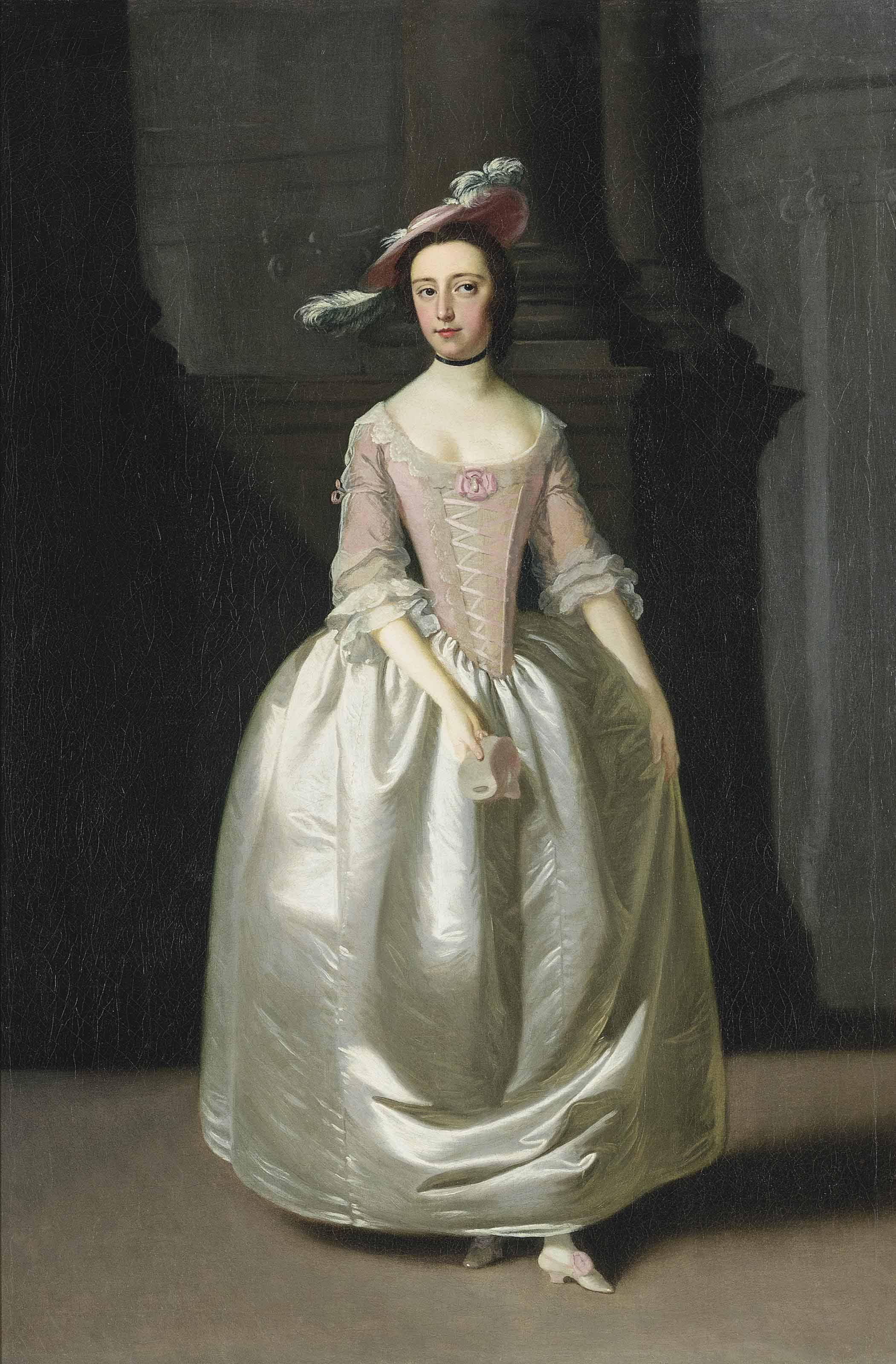 Portrait of Anne Calter in a white satin dress