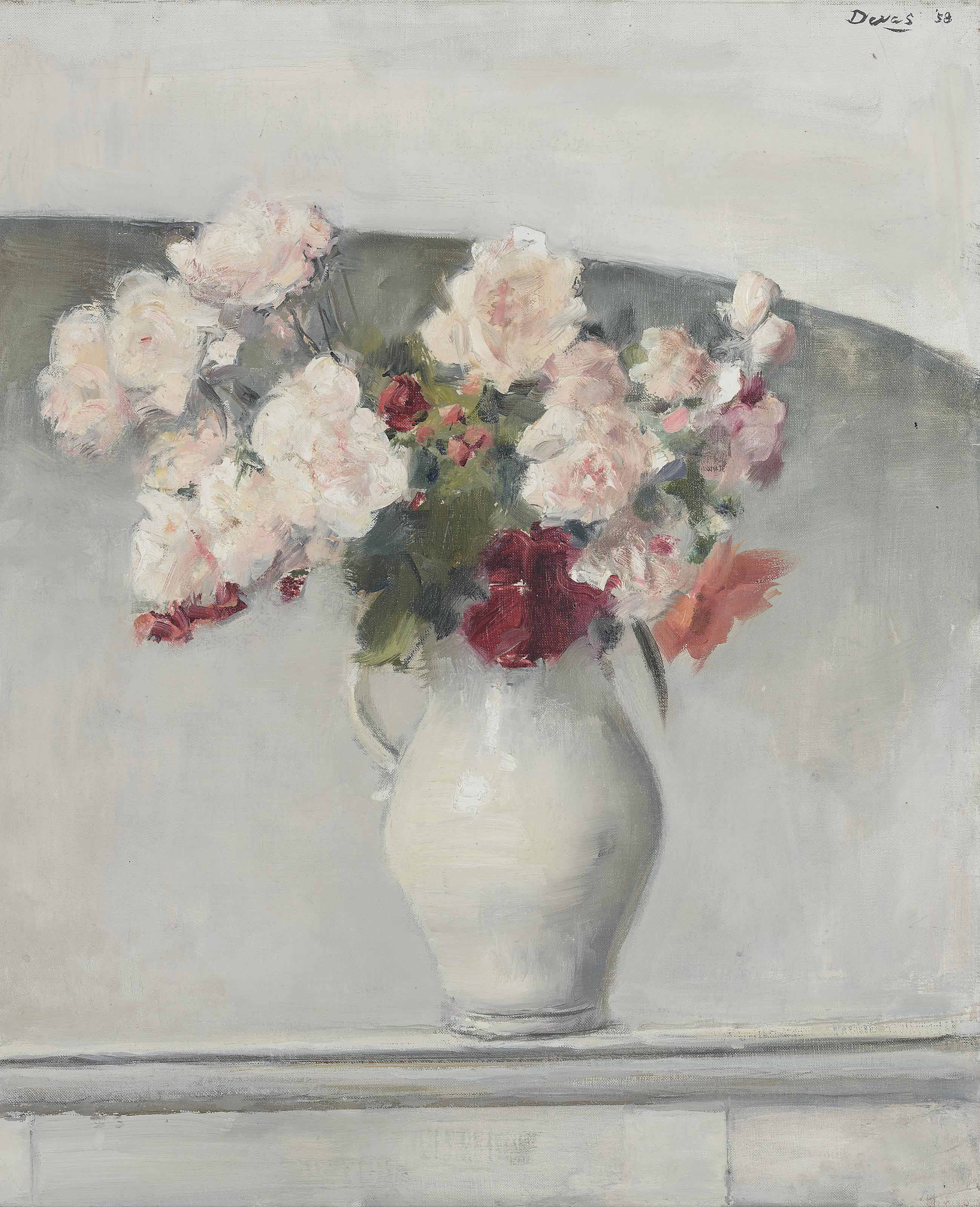 Flowers in a white jug