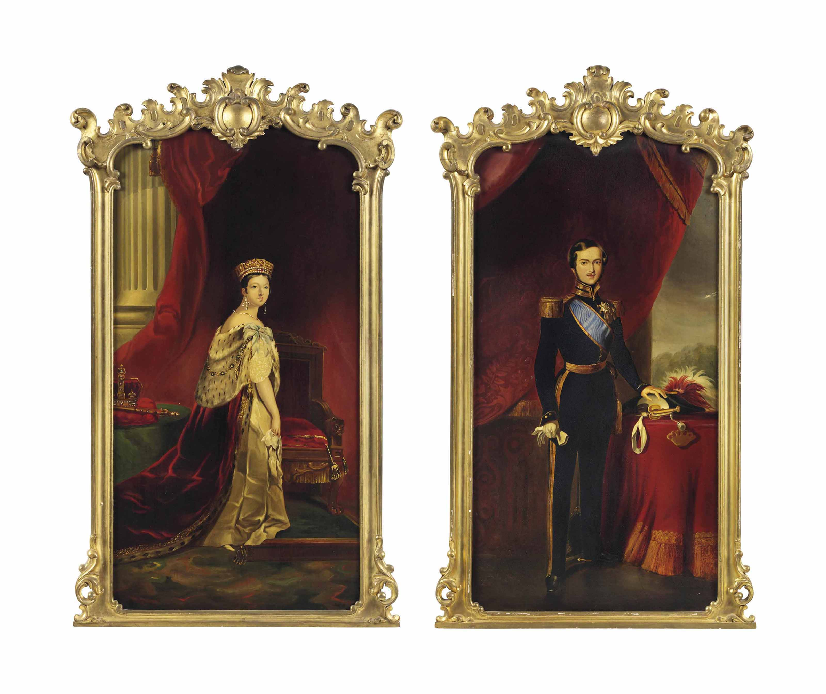 A PAIR OF PAPIER MACHE PANELS PAINTED WITH PORTRAITS OF QUEEN VICTORIA AND PRINCE ALBERT