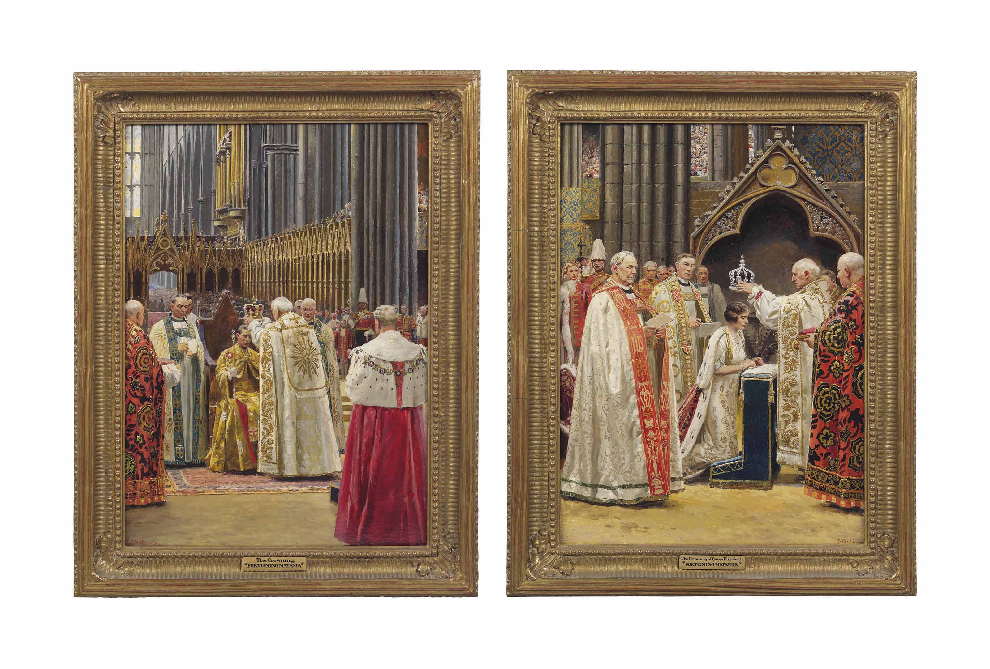 Scenes from the coronation of King George VI (1895-1952): The Anointing; The Recognition; The Crowning; and The Crowning of Queen Elizabeth