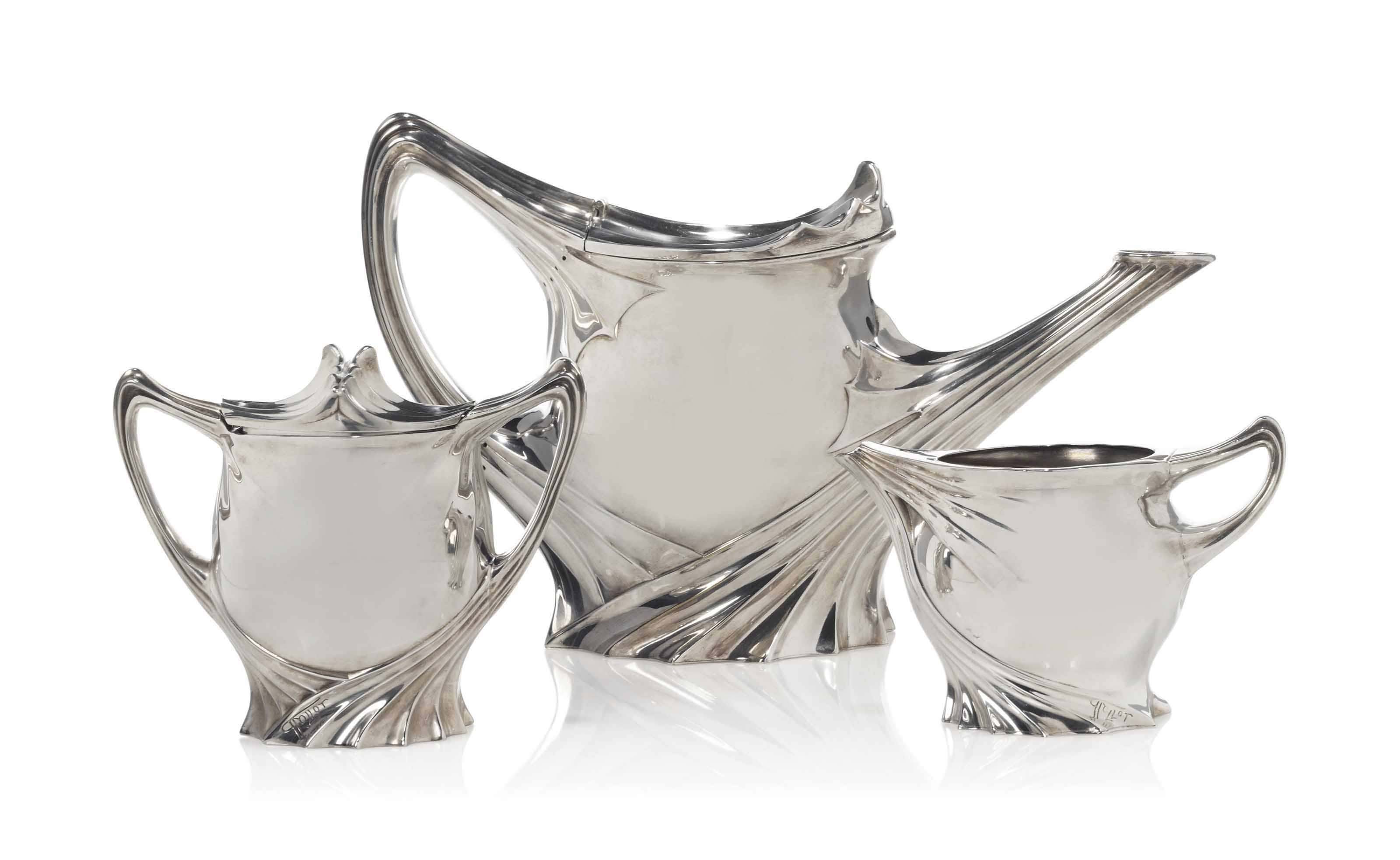 A PAUL FOLLOT (1877-1941) ART NOUVEAU SILVER-PLATED TEA SET