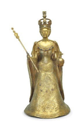 AN ITALIAN GILDED AND GEM-SET SCULPTURE OF HER MAJESTY QUEEN
