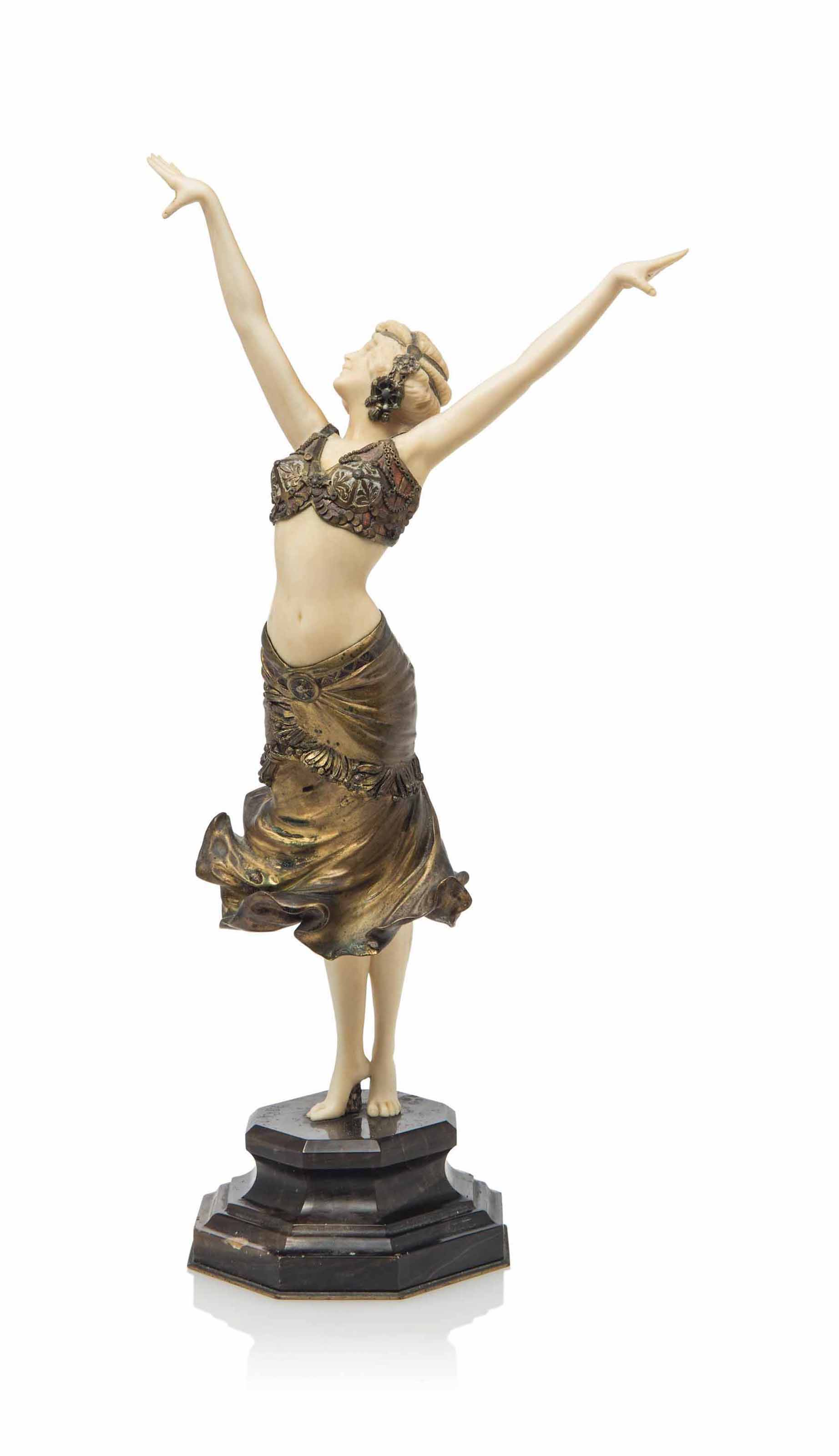 A PAUL PHILIPPE (1870-1930) GILT AND COLD PAINTED BRONZE AND IVORY FIGURE ON MARBLE BASE