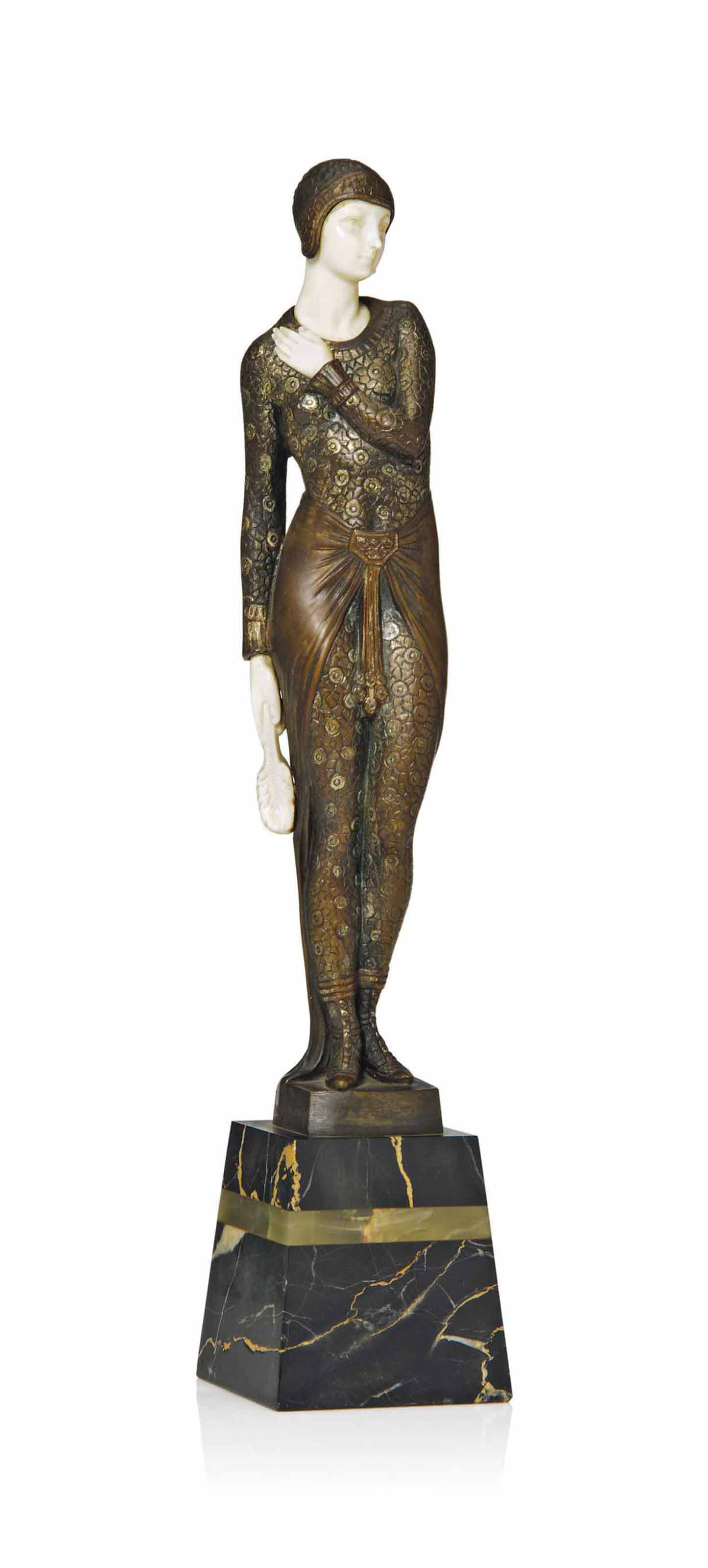JOE DESCOMPS PATINATED AND COLD-PAINTED BRONZE AND IVORY FIGURE HOLDING A CLOSED FAN