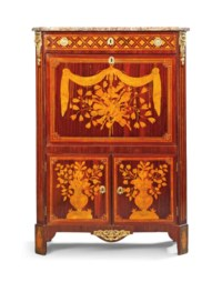 A LOUIS XVI ORMOLU-MOUNTED KINGWOOD, TULIPWOOD AND MARQUETRY SECRETAIRE A ABATTANT