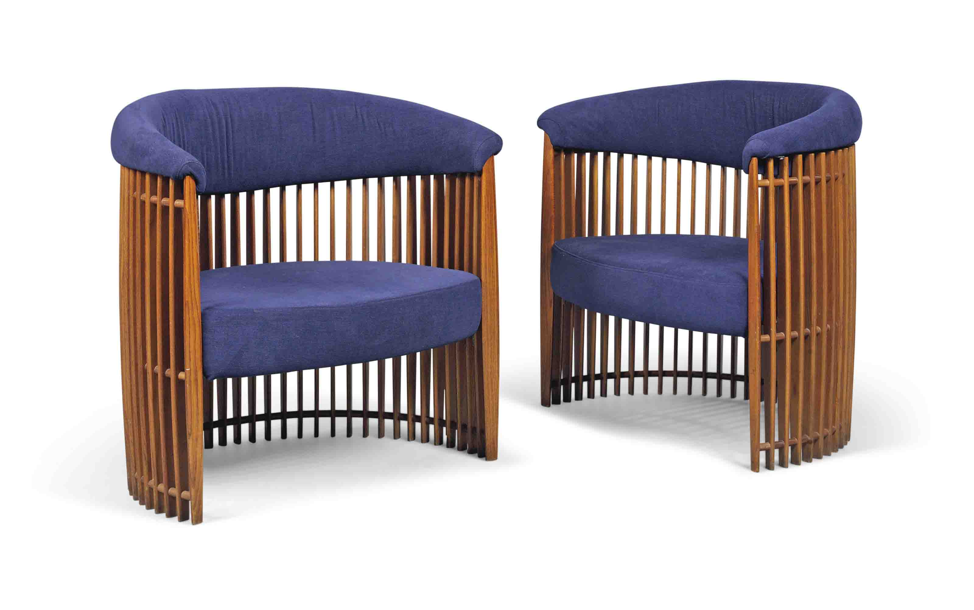 A PAIR OF FRENCH SLATTED ASH AND UPHOLSTERED ARMCHAIRS