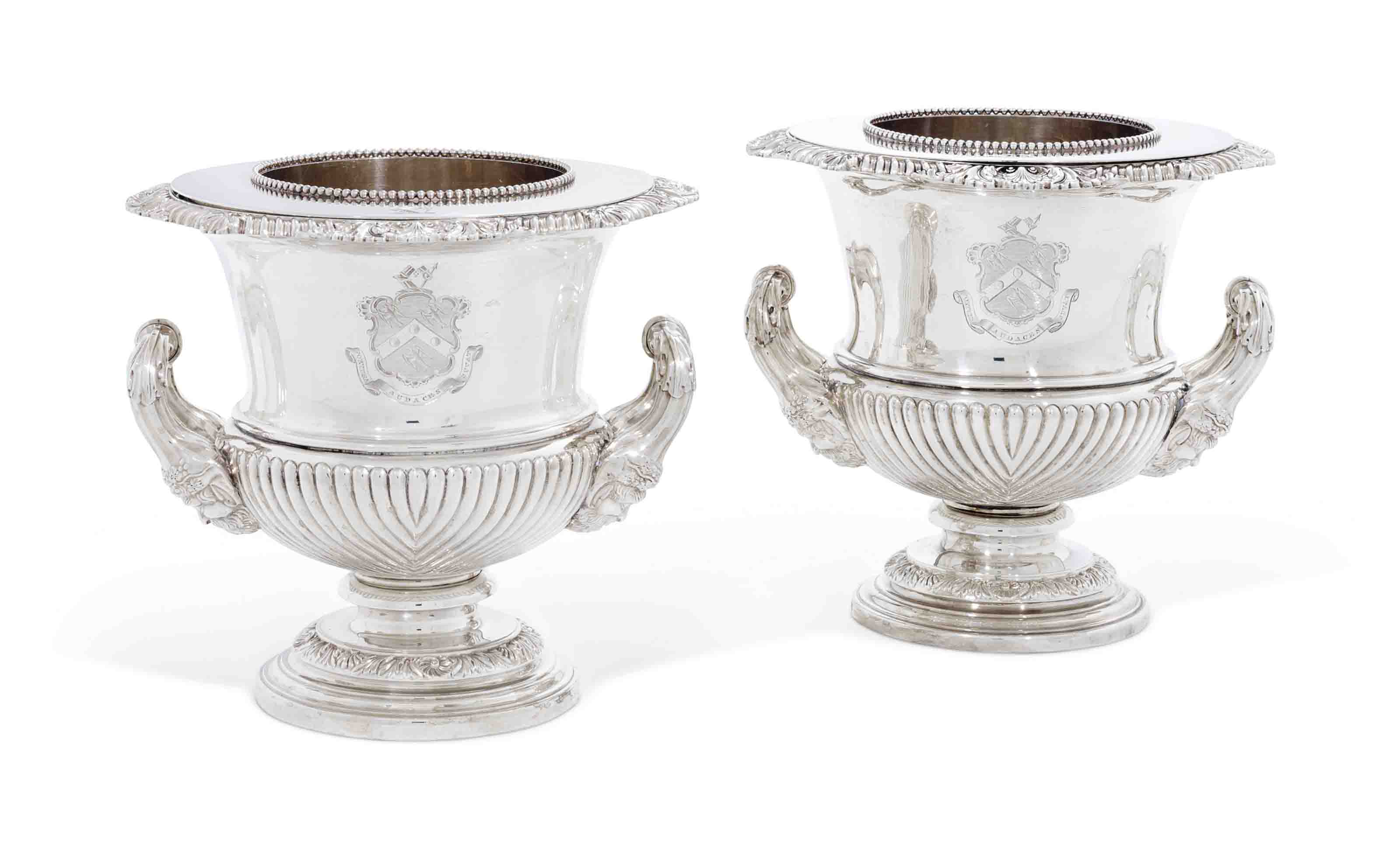 TWO GEORGE IV SILVER WINE-COOLERS, COLLARS AND LINERS