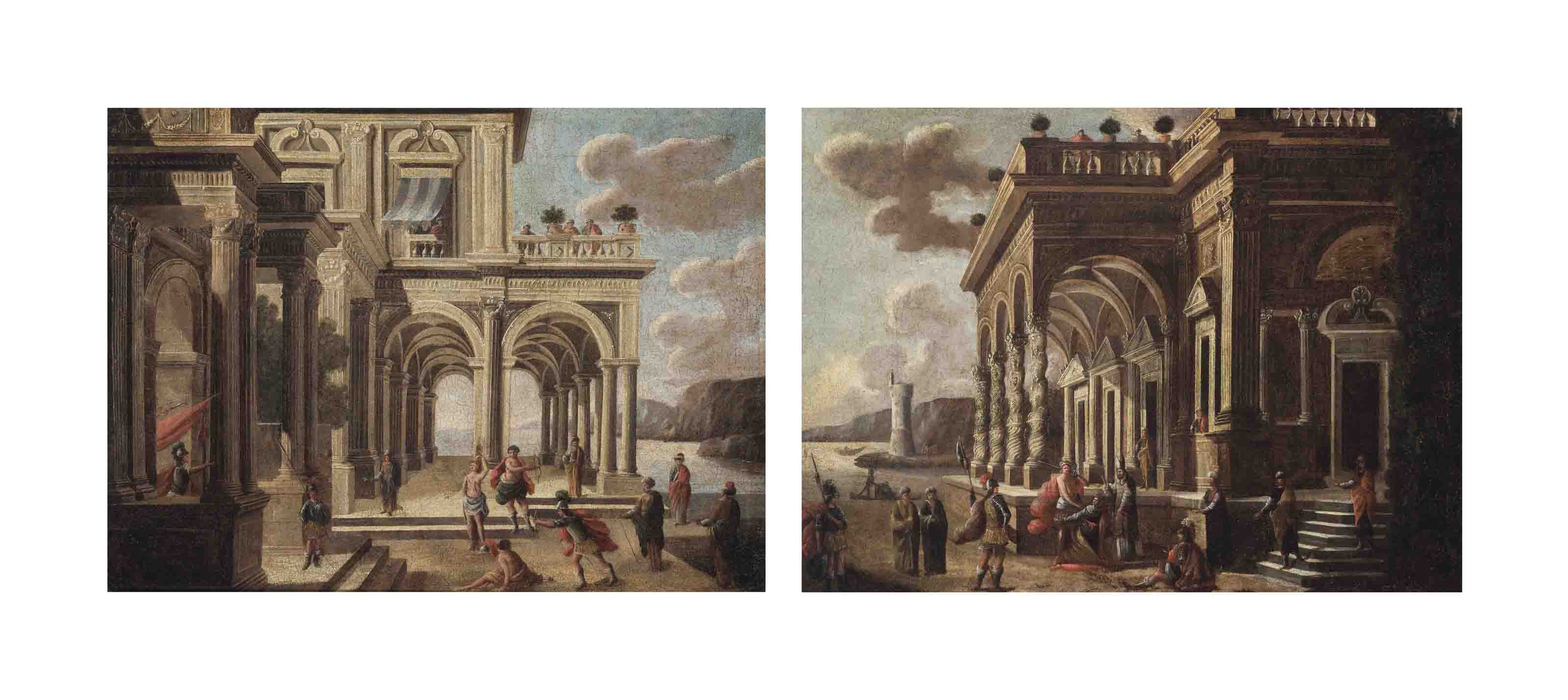 A pair of architectural capriccio's
