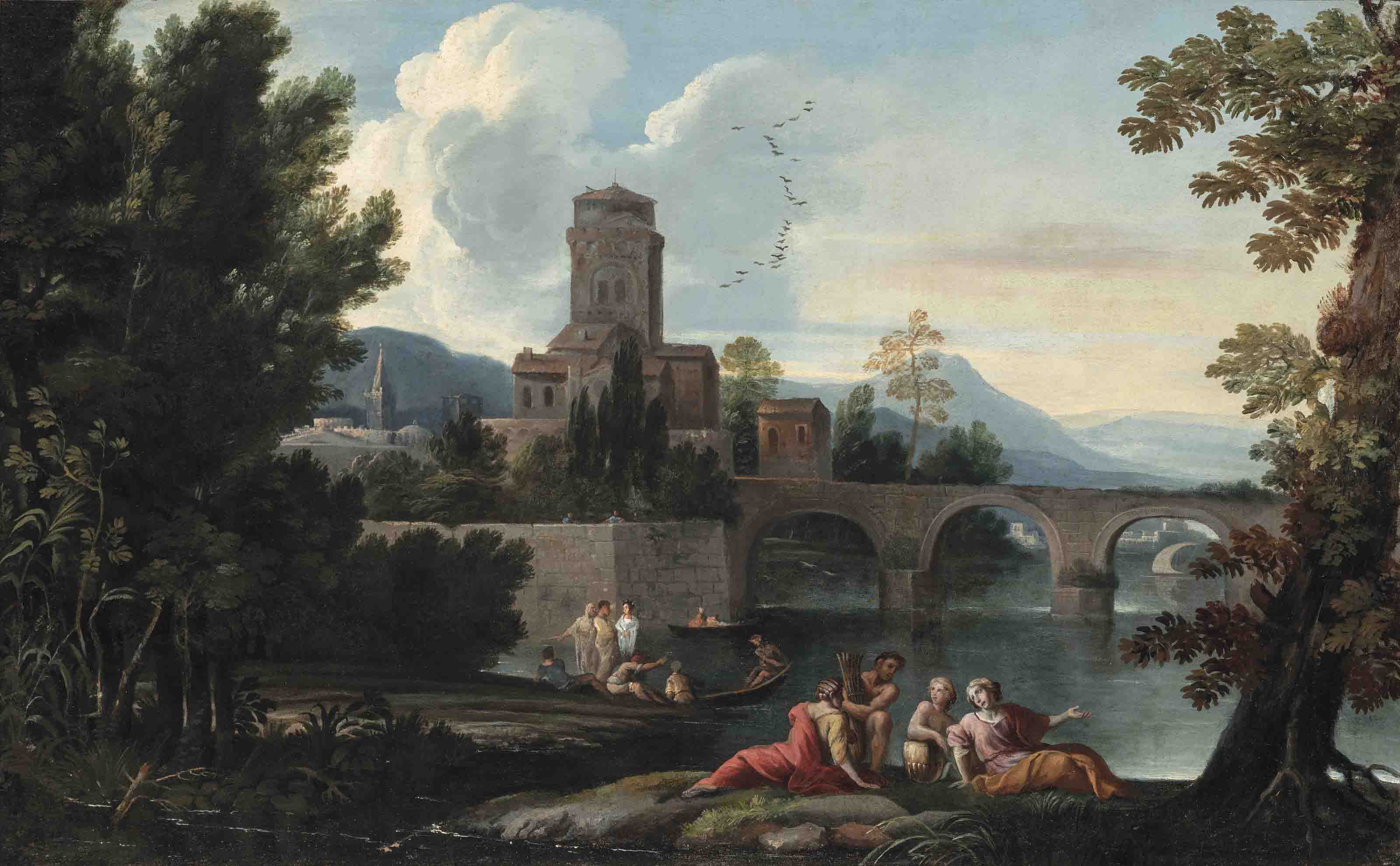 An Italianate landscape with figures before a town beside a river