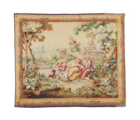 A FRENCH AUBUSSON TAPESTRY REPRESENTING A MAIDEN AND TWO SUITORS