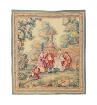 A FRENCH AUBUSSON TAPESTRY REPRESENTING FIGURES IN A LANDSCAPE PLAYING A GAME