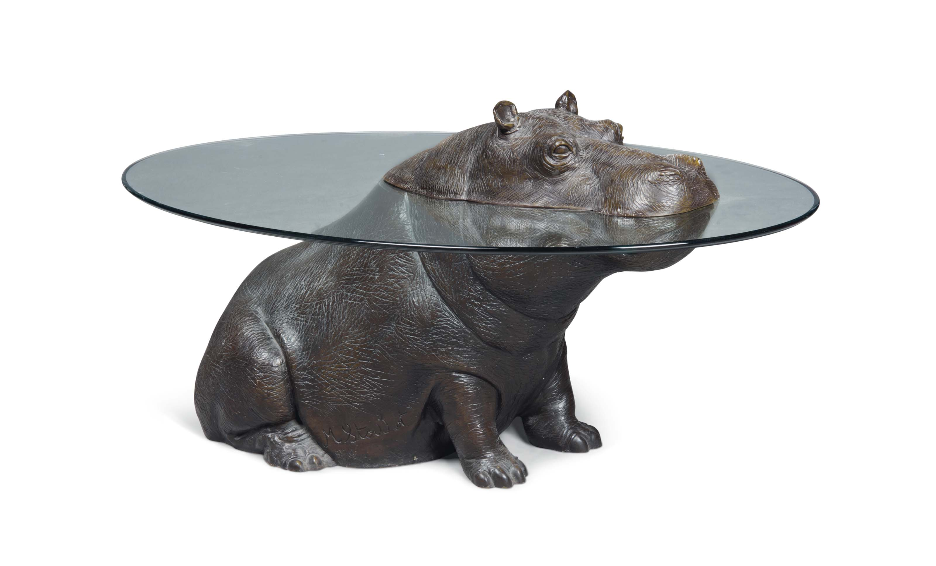 A Mark Stoddart Cheeky Hippo Patinated Bronze And Glass