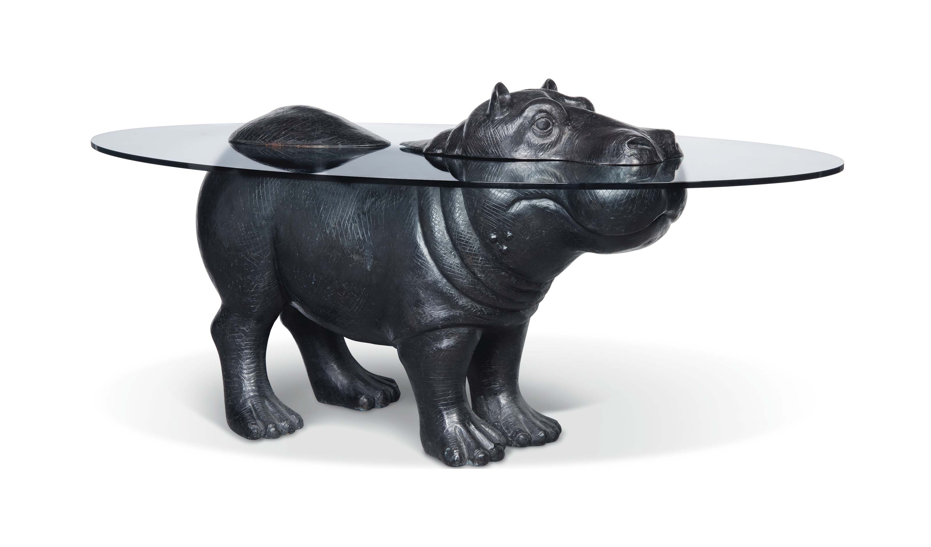 A MARK STODDART 'HIPPO' PATINATED BRONZE AND GLASS DINING TABLE