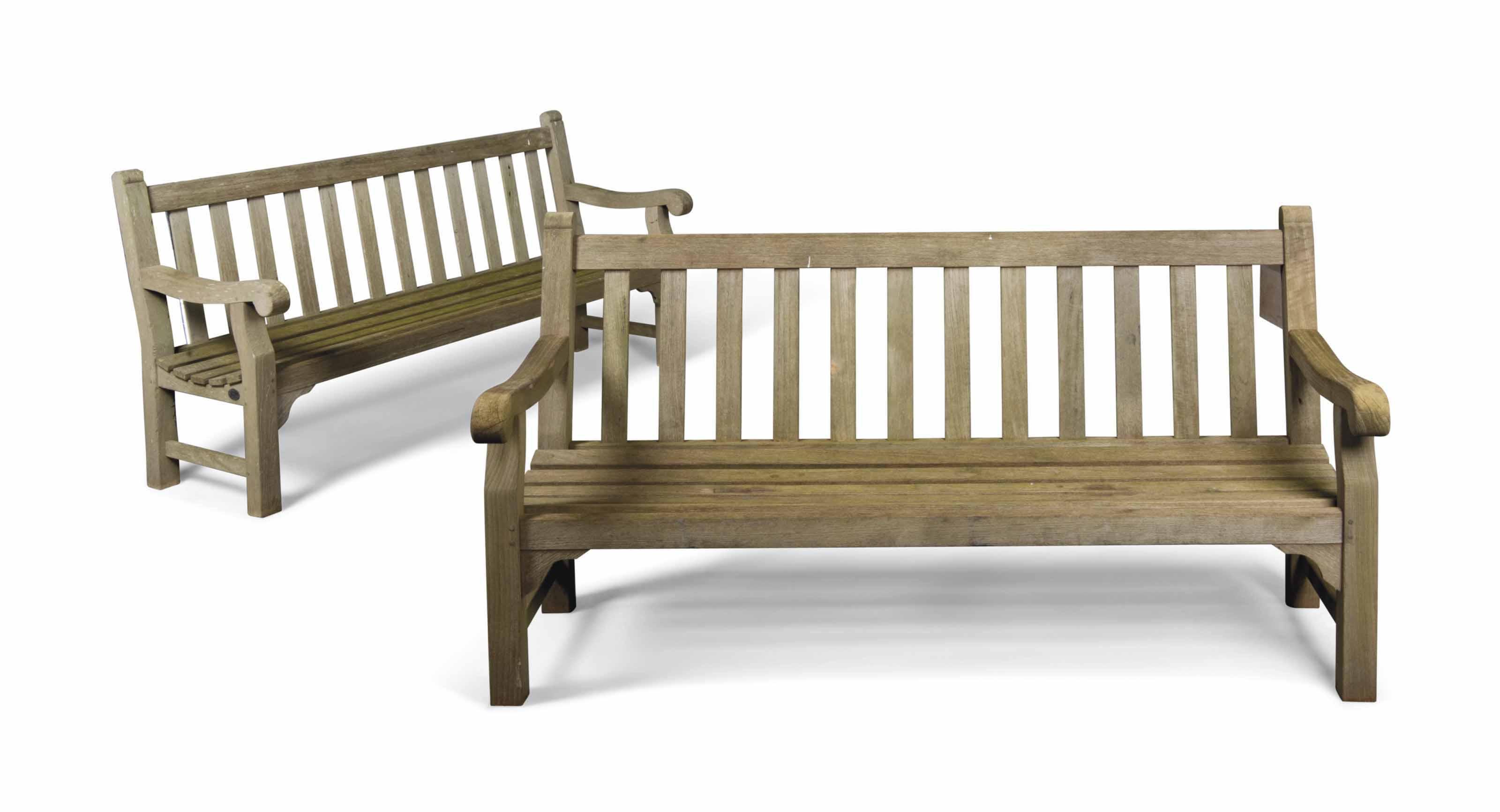 A Pair Of Teak Garden Benches By Lister Modern