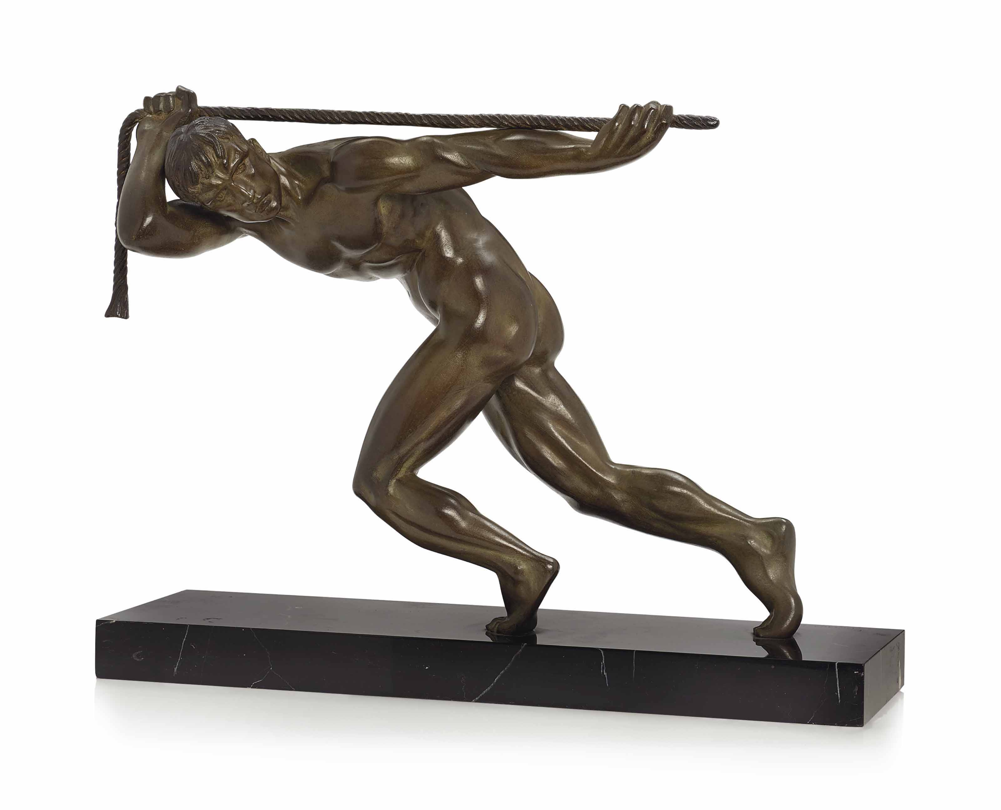 A MAURICE GUIRAUD-RIVIERE (1881-1947) COLD-PAINTED BRONZE ON A MARBLE PLINTH