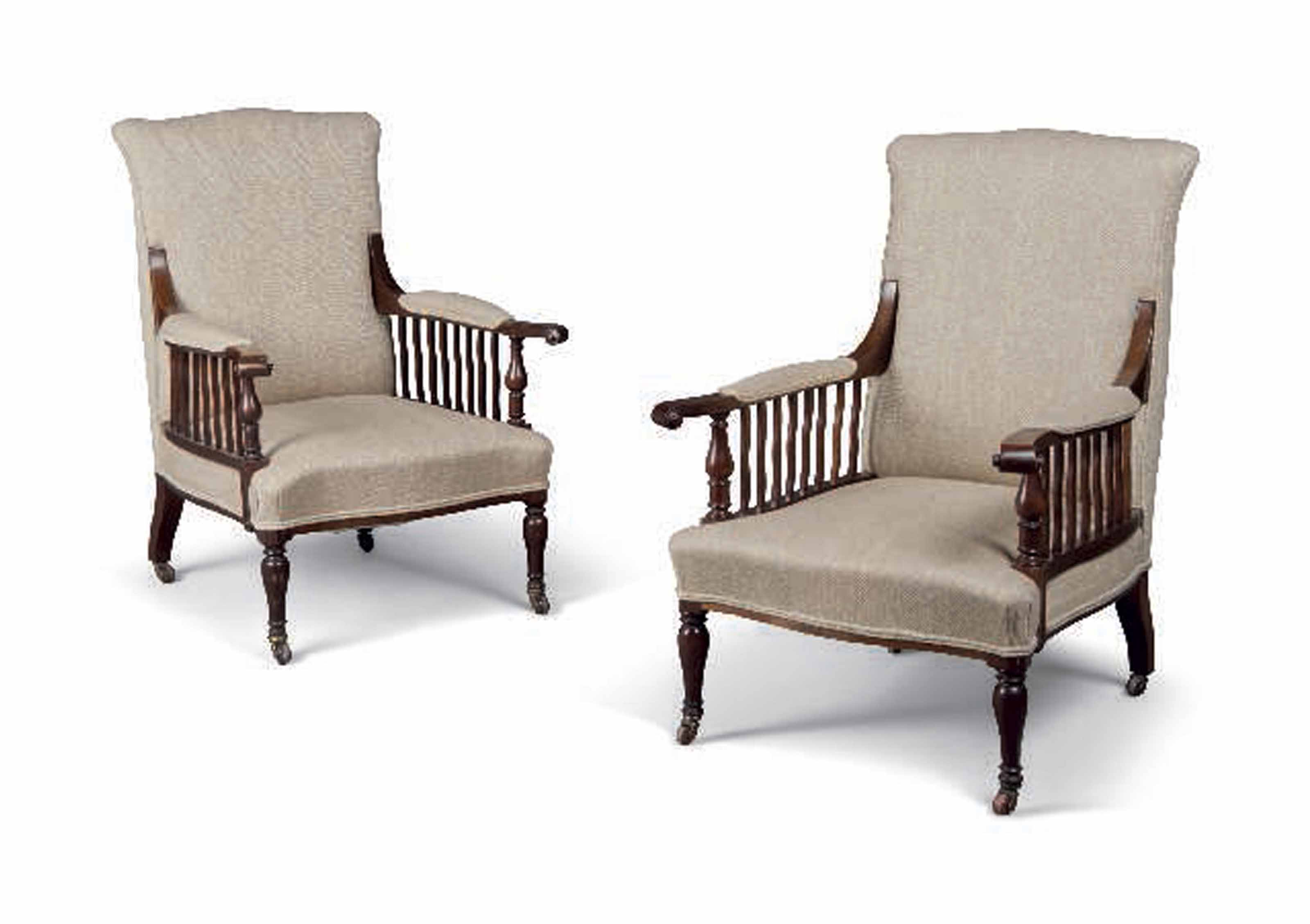A PAIR OF MORRIS & CO MAHOGANY AND UPHOLSTERED 'SAVILLE' ARMCHAIRS ATTRIBUTED TO GEORGE JACK