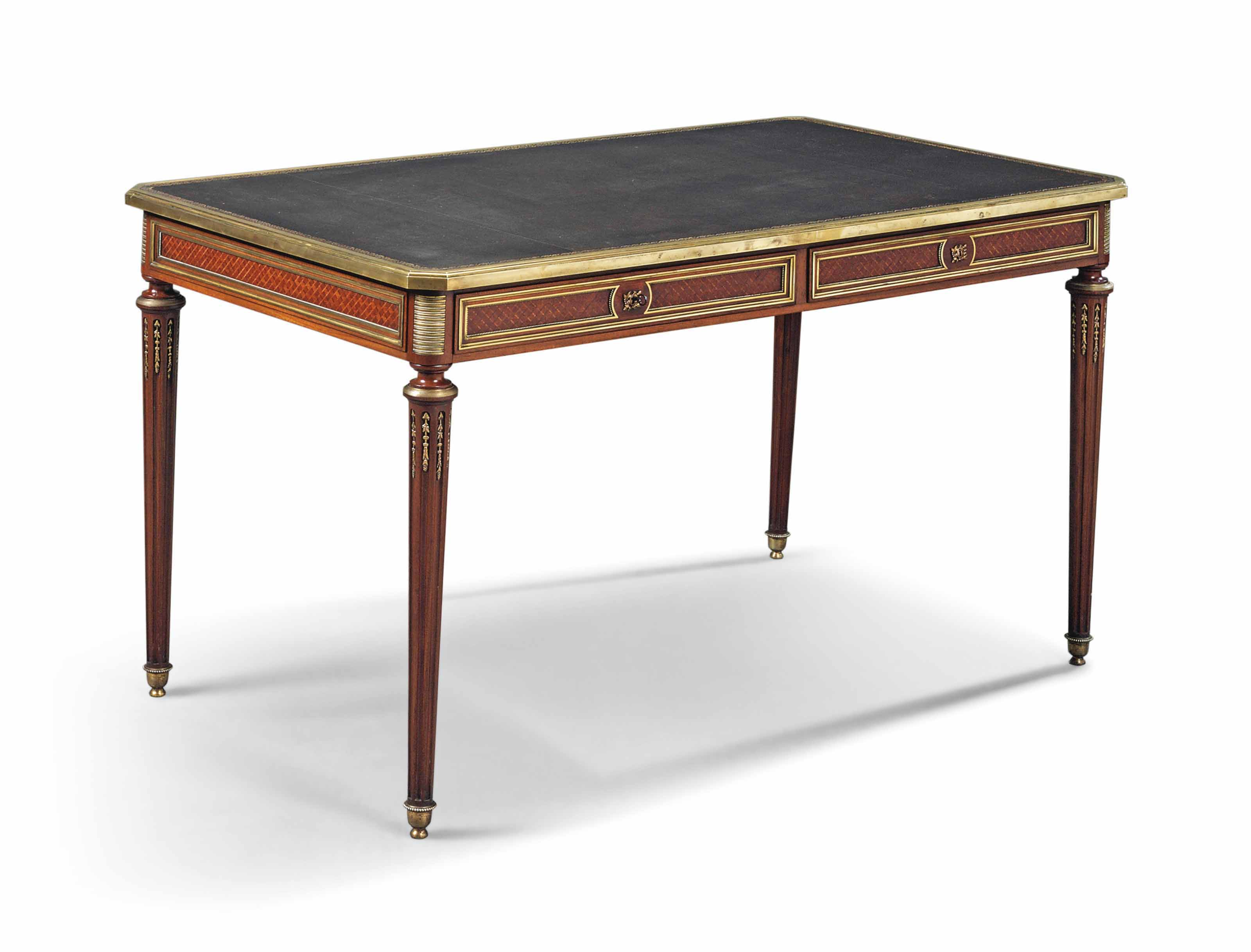 A FRENCH ORMOLU-MOUNTED MAHOGANY, TULIPWOOD AND PARQUETRY BUREAU PLAT