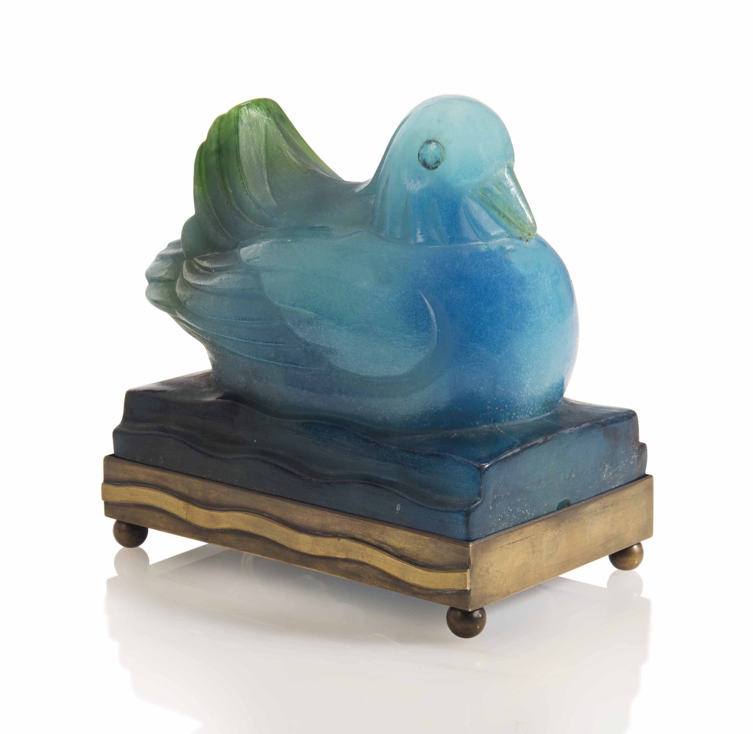 'CANARD'. AN AMALRIC WALTER (1870-1959) PATE-DE-VERRE NIGHT LIGHT
