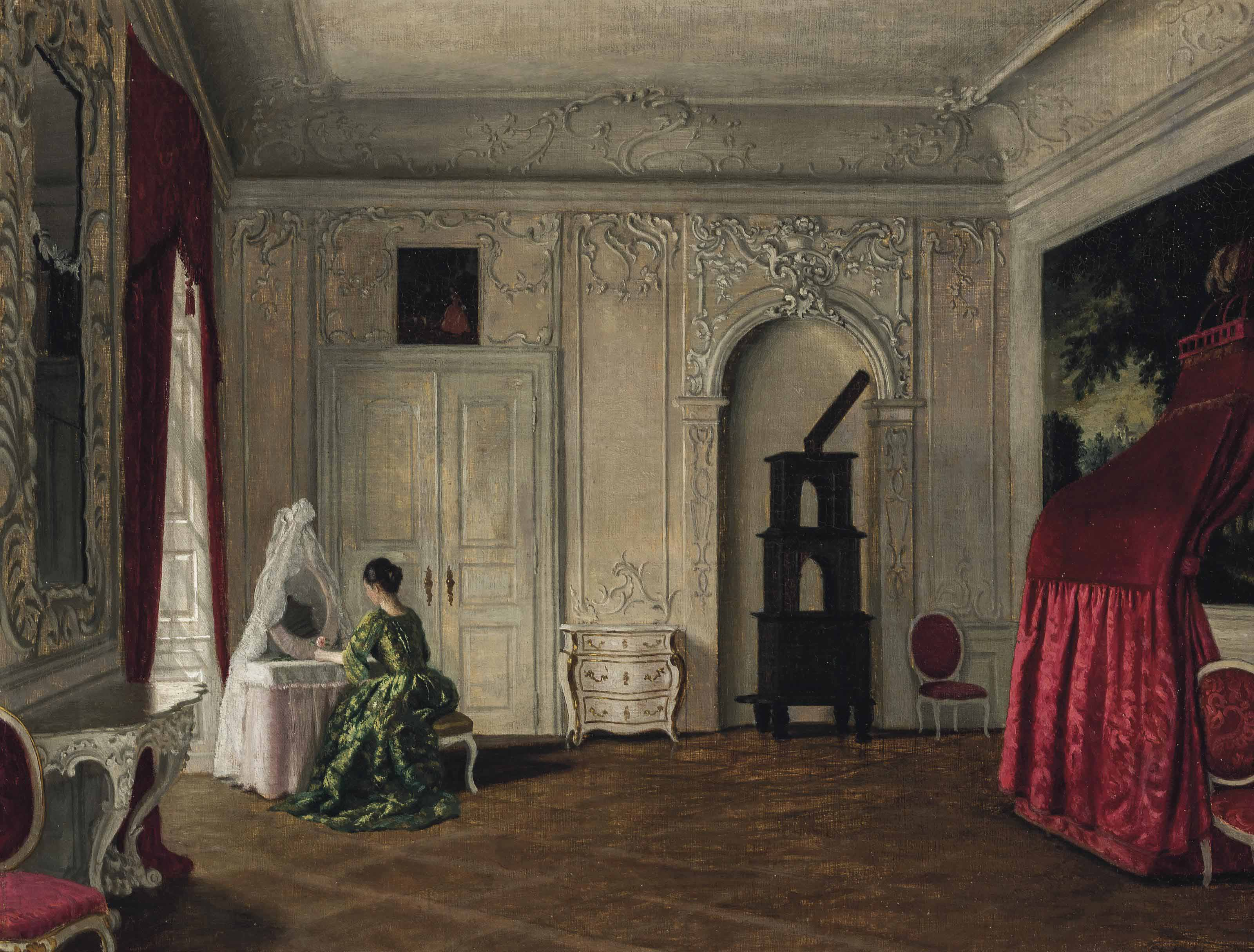 A lady at a dressing table