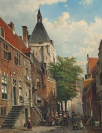 Figures conversing in a Dutch street