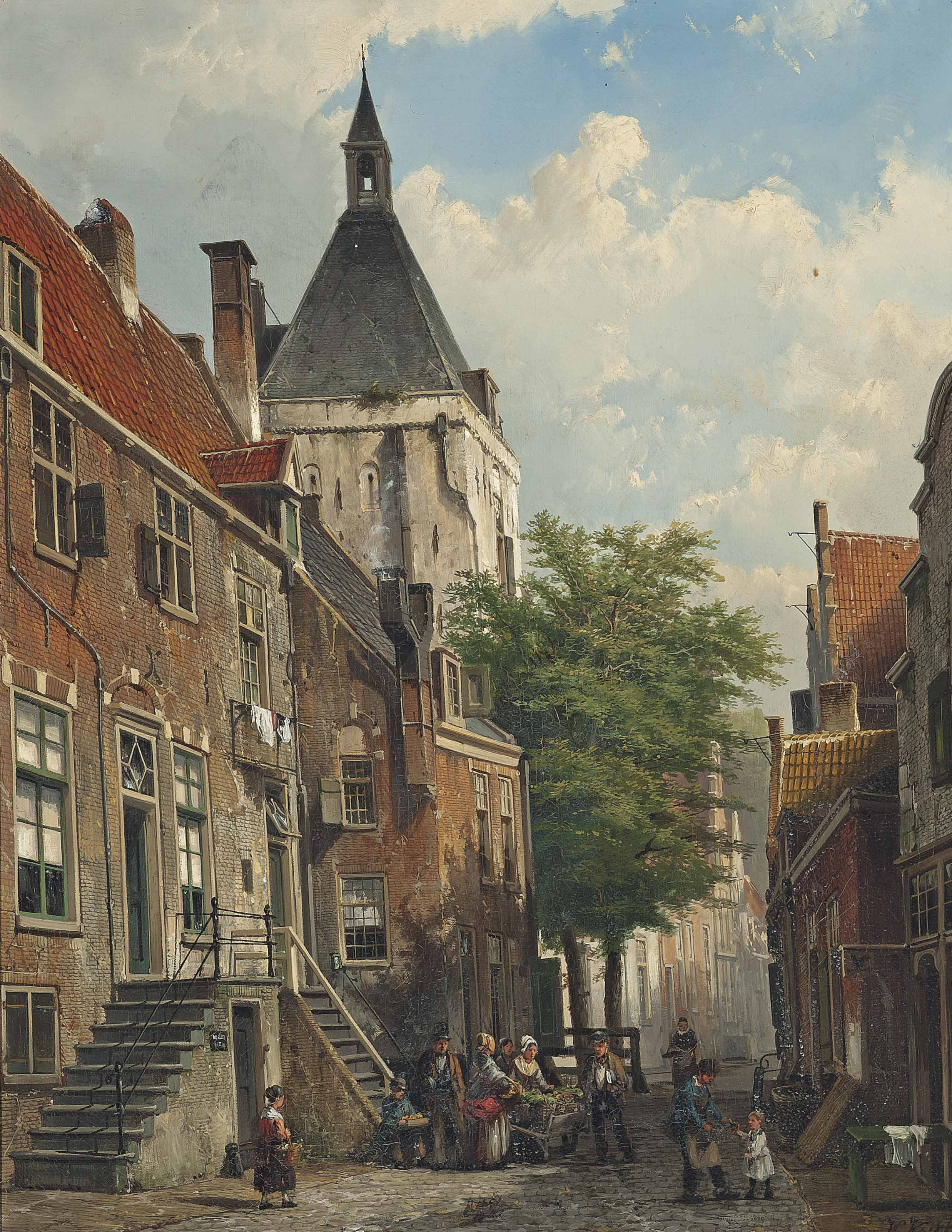 Figures conversing in a Dutch street