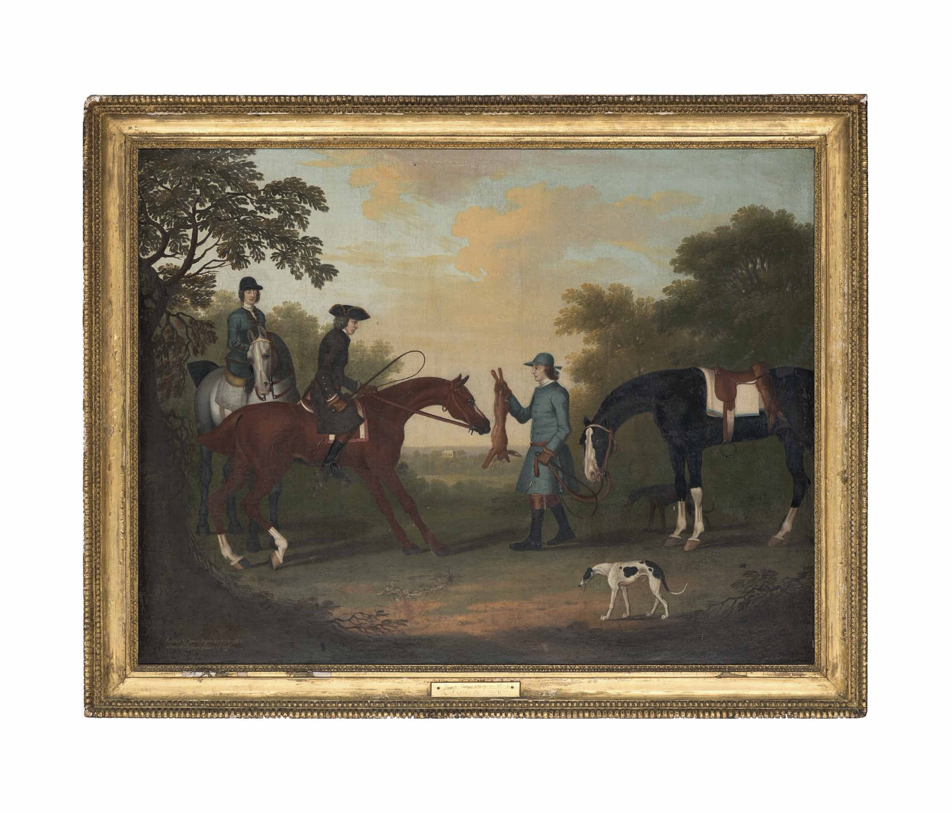 A gentleman and lady on their hunters, with a groom holding a hare, with two greyhounds and a hunter, in a wooded landscape