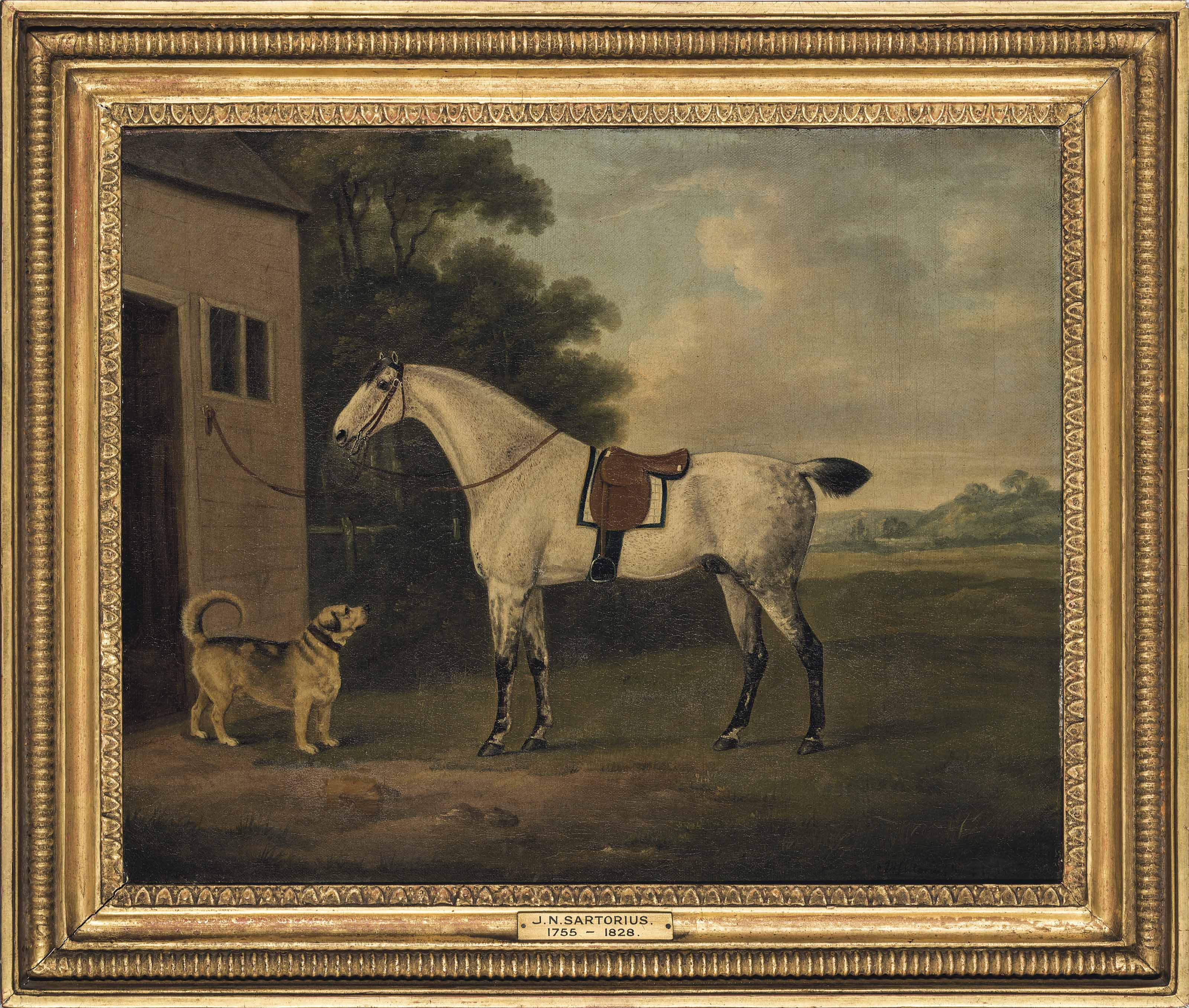 A favourite dappled grey hunter, and hound, in a landscape