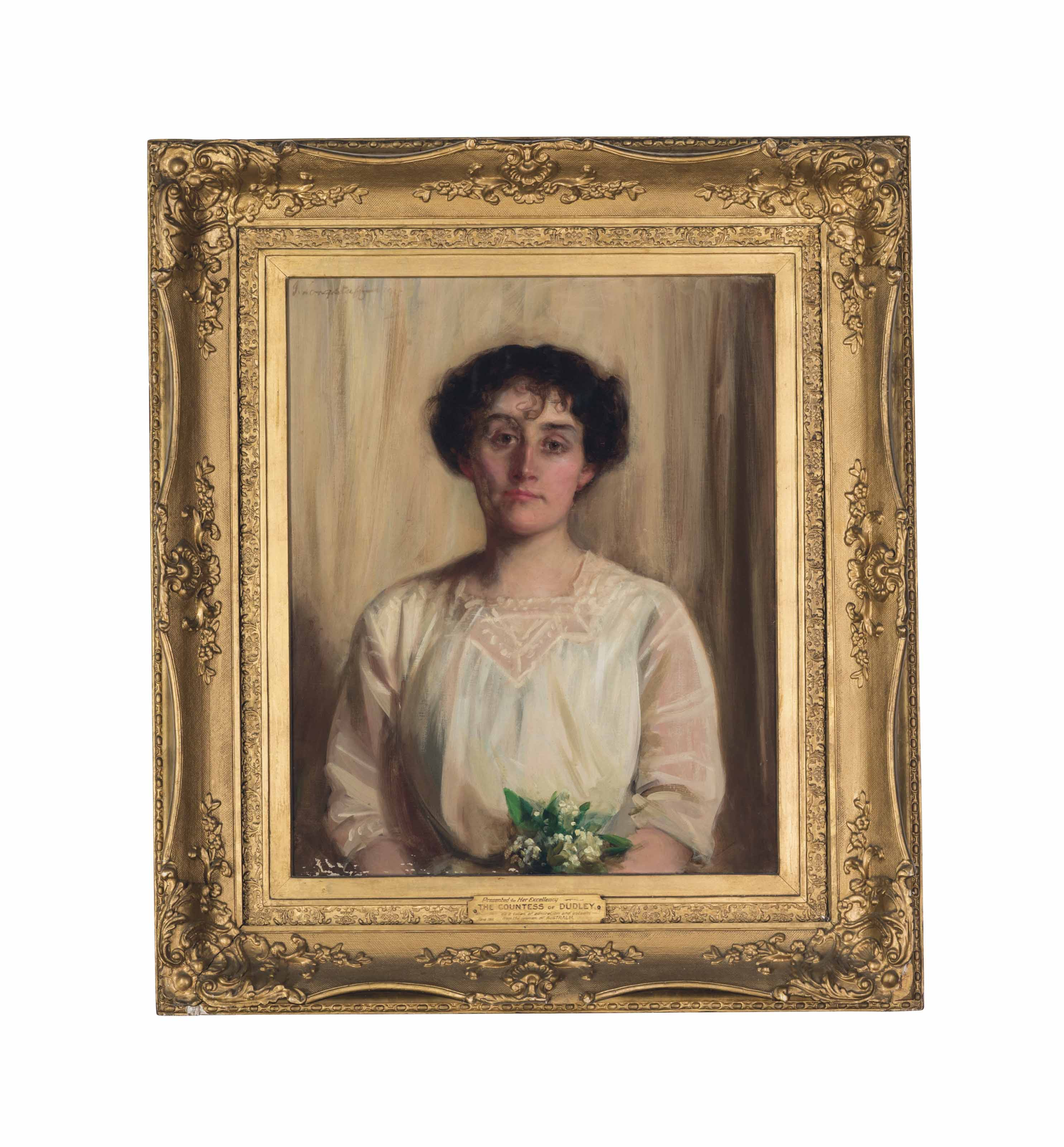 Portrait of Rachel, Countess of Dudley, née Gurney (c. 1867-1920), half-length, in a white dress, holding Lily of the valley