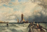 Watching for the return of the fishing fleet, Calais