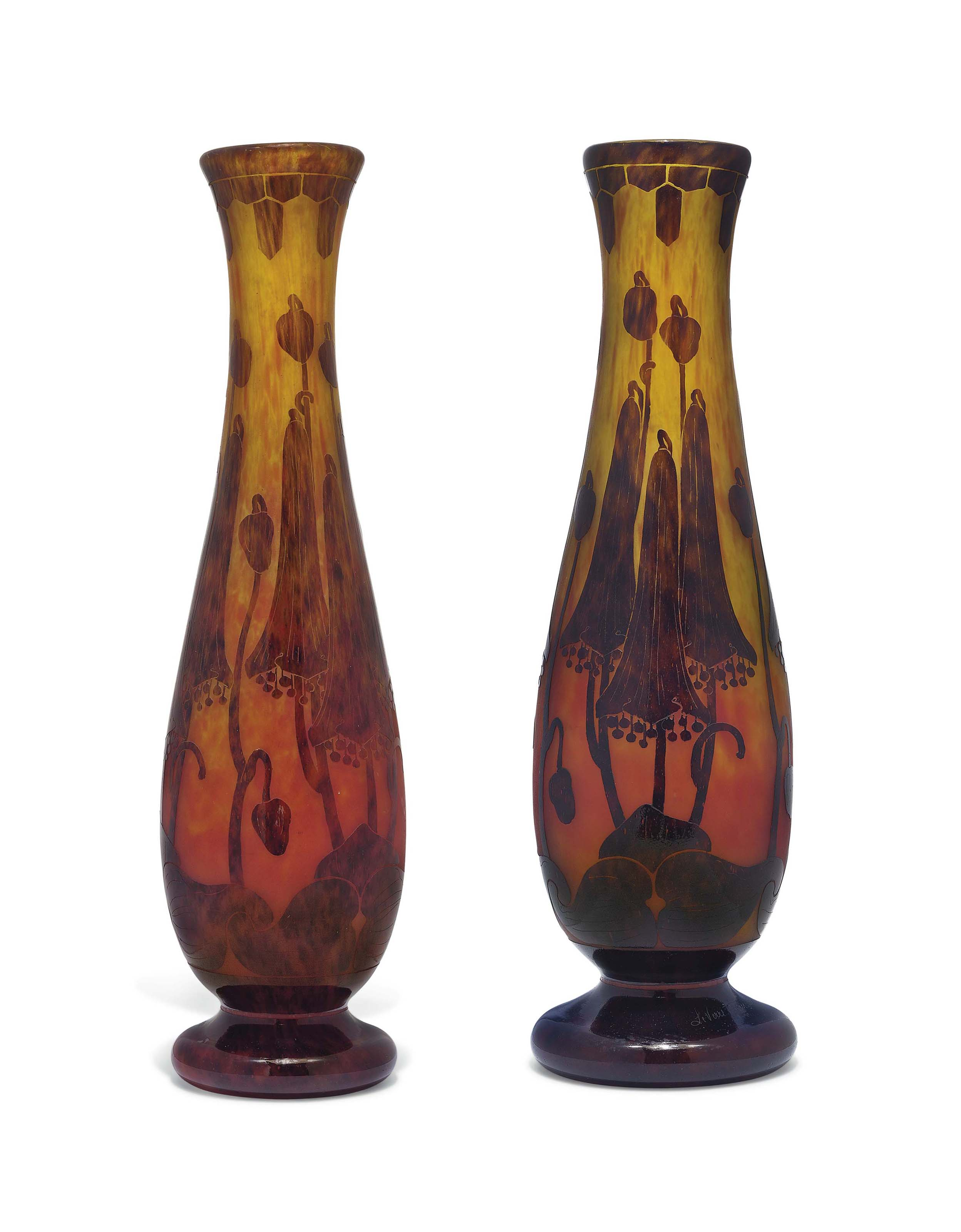 A NEAR PAIR OF LE VERRE FRANCAIS ART DECO CAMEO GLASS VASES OVERLAID AND ACID-ETCHED WITH BELL-SHAPED FLOWERS