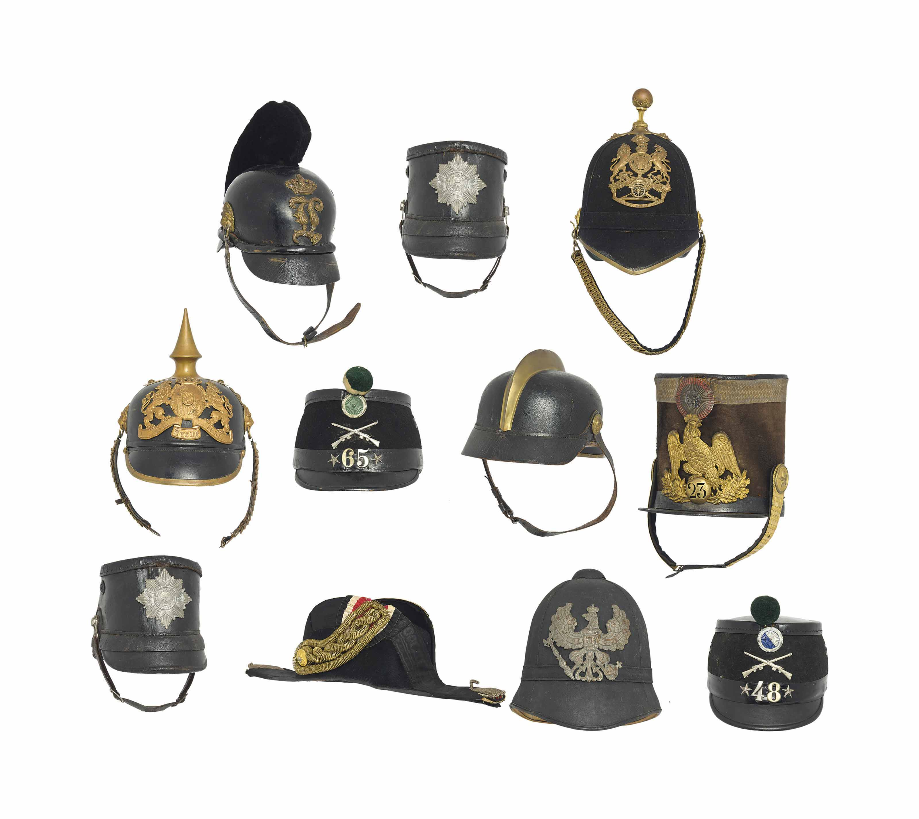 A COLLECTION OF EUROPEAN MILITARY HEADWEAR