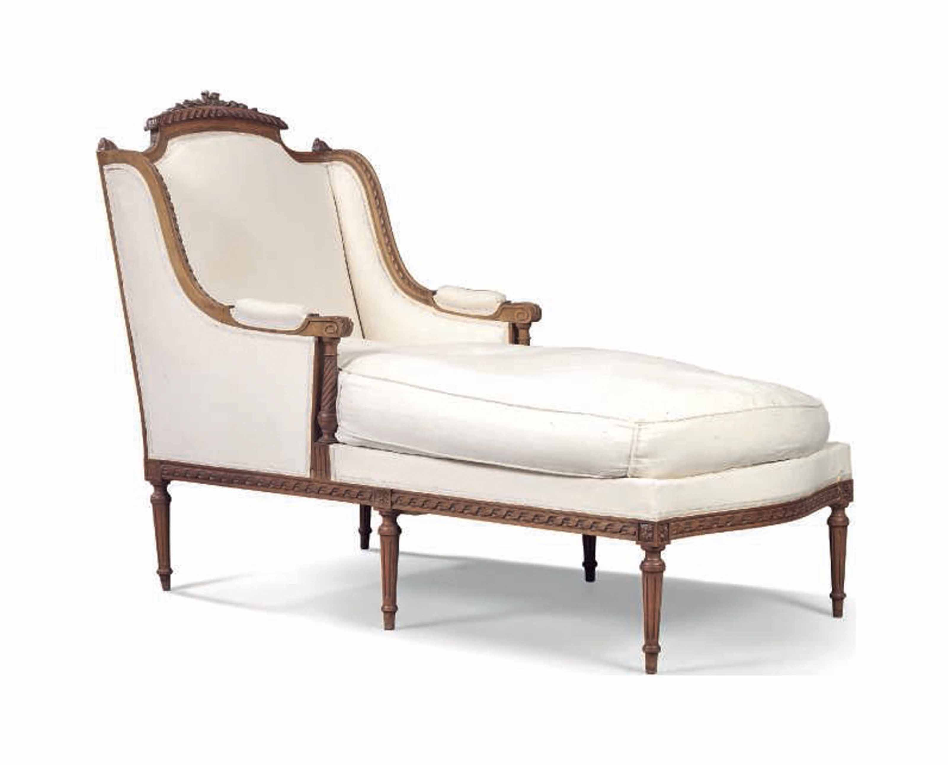 A FRENCH WALNUT CHAISE LONGUE