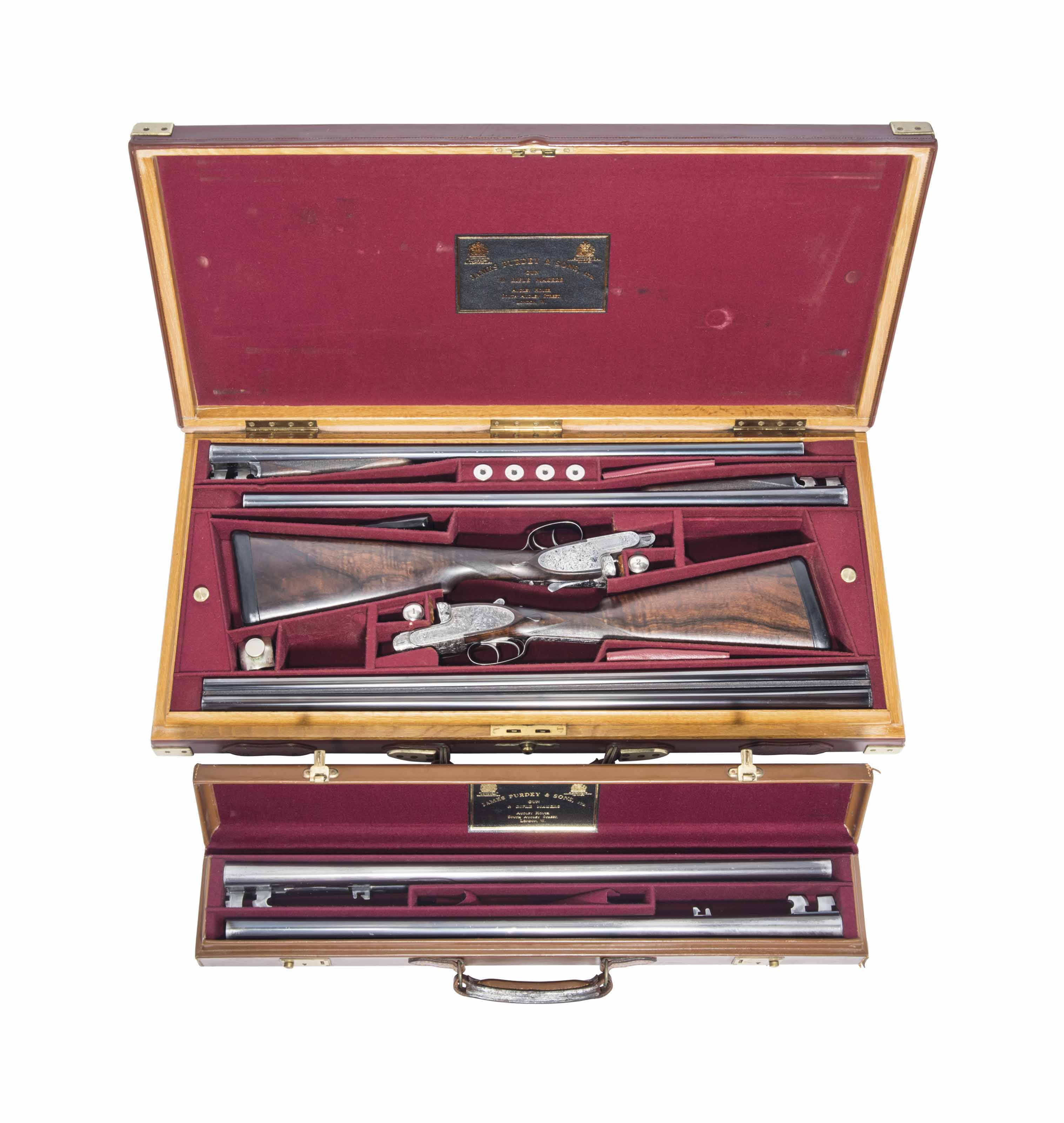 A FINE PAIR OF CASBARD ENGRAVED 12-BORE 'LARGE SCROLL' SELF-OPENING SIDELOCK EJECTORS WITH EXTRA BARRELS