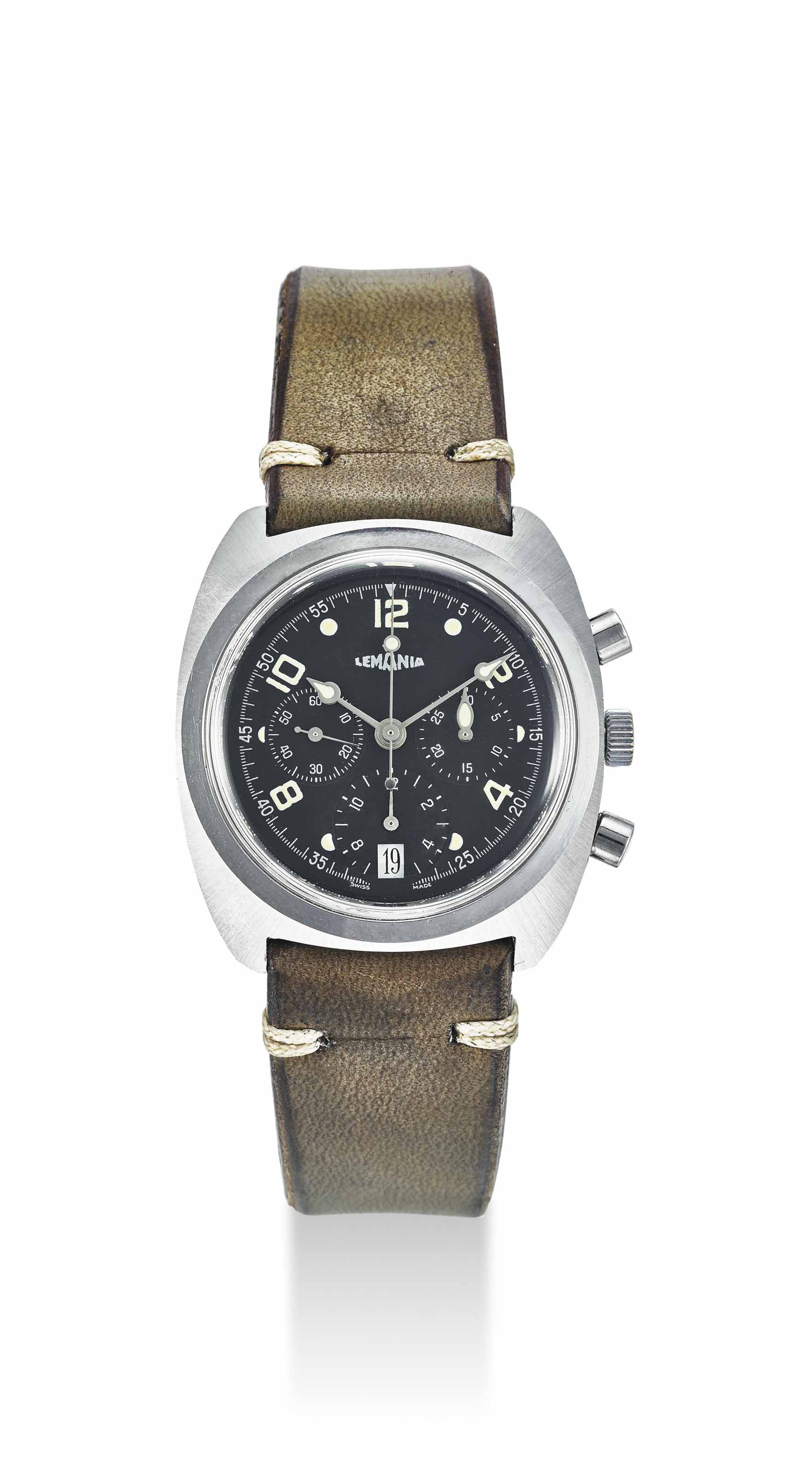 LEMANIA. A RARE STAINLESS STEEL AUTOMATIC CHRONOGRAPH PROTOTYPE WRISTWATCH WITH DATE