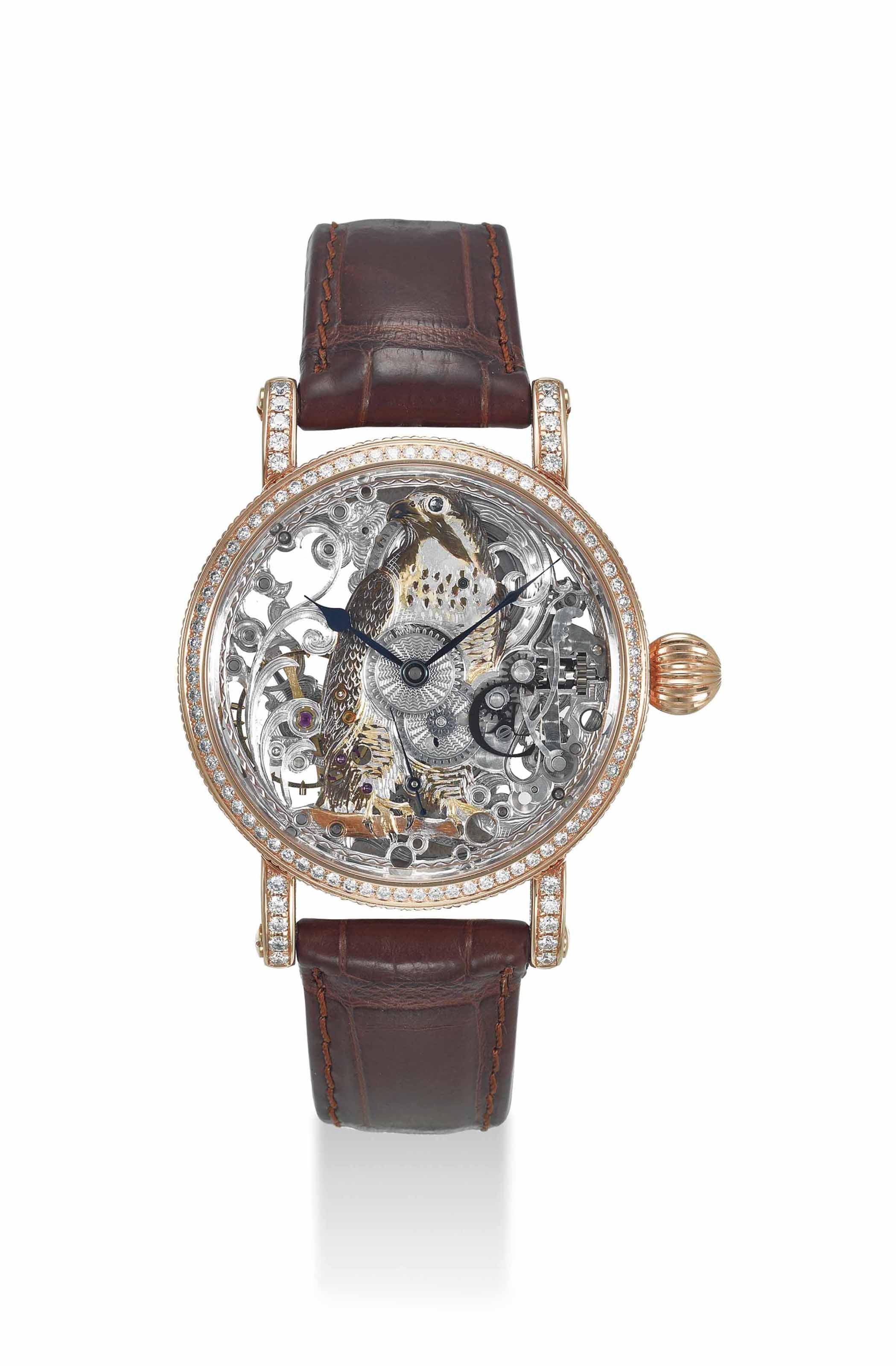 CHRONOSWISS. A FINE 18K PINK GOLD AND DIAMOND-SET LIMITED EDITION SKELETONIZED WRISTWATCH WITH ENGAVED DIAL