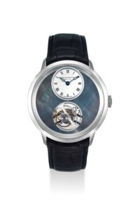 ARNOLD & SON. A VERY FINE AND RARE LIMITED EDITION PALLADIUM TOURBILLON WRISTWATCH WITH MOTHER-OF-PEARL DIAL