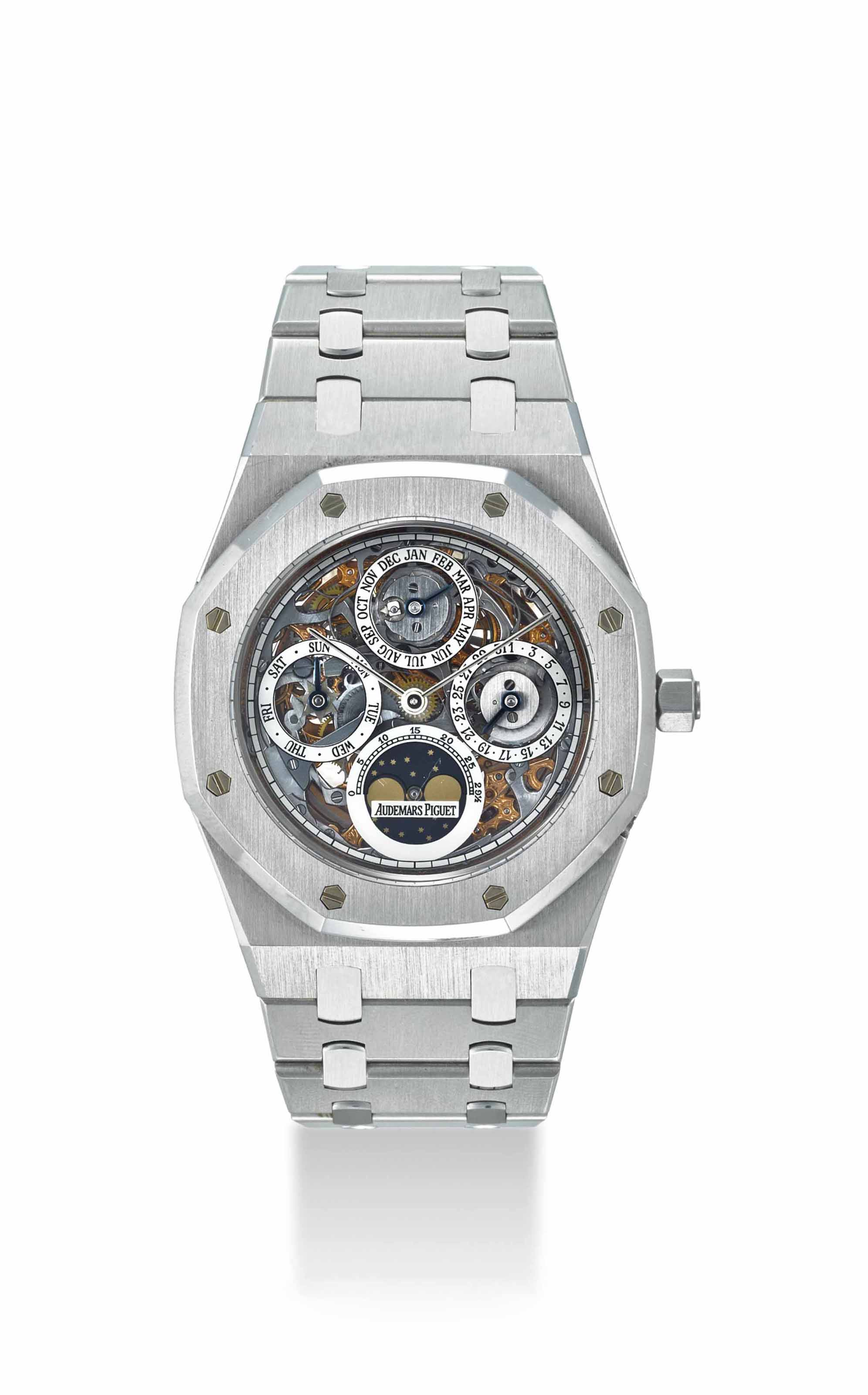 AUDEMARS PIGUET. A VERY FINE AND RARE STAINLESS STEEL SKELETONIZED AUTOMATIC PERPETUAL CALENDAR WRISTWATCH WITH MOON PHASES AND BRACELET