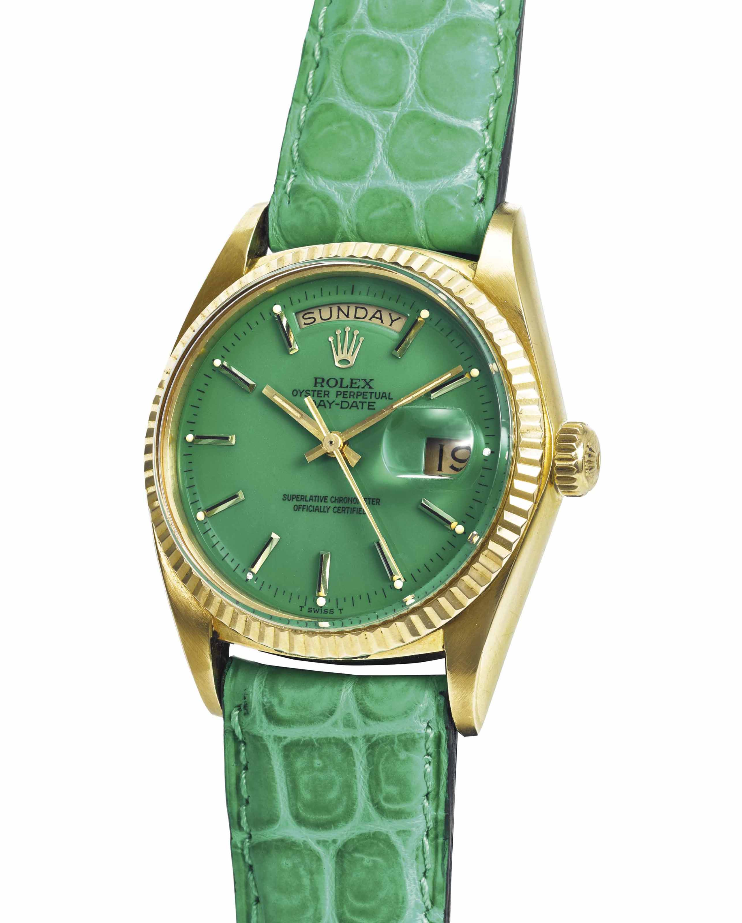 ROLEX A VERY FINE AND RARE 18K GOLD AUTOMATIC WRISTWATCH WIT...