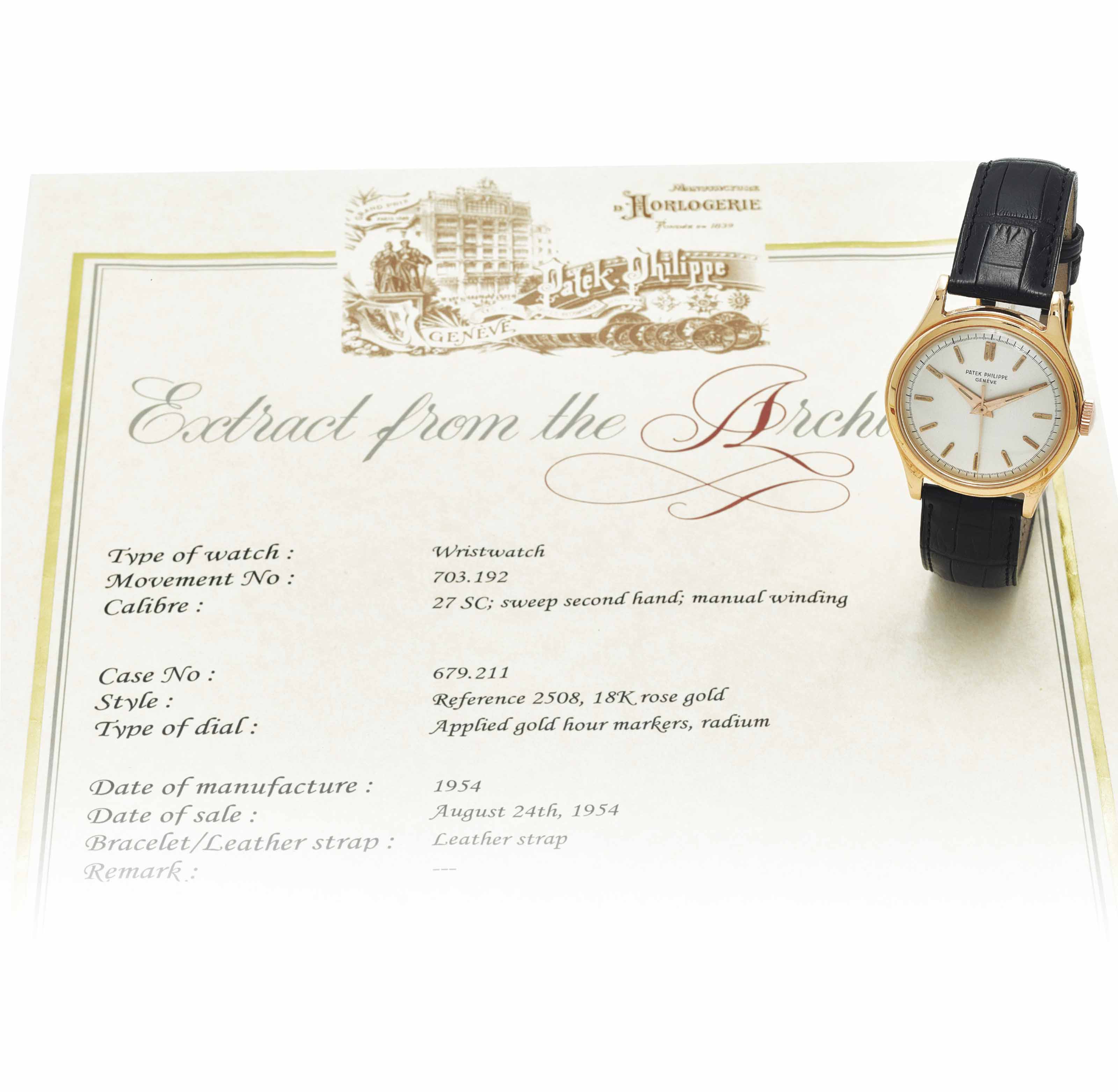 PATEK PHILIPPE A RARE 18K PINK GOLD WRISTWATCH WITH SWEEP CE...
