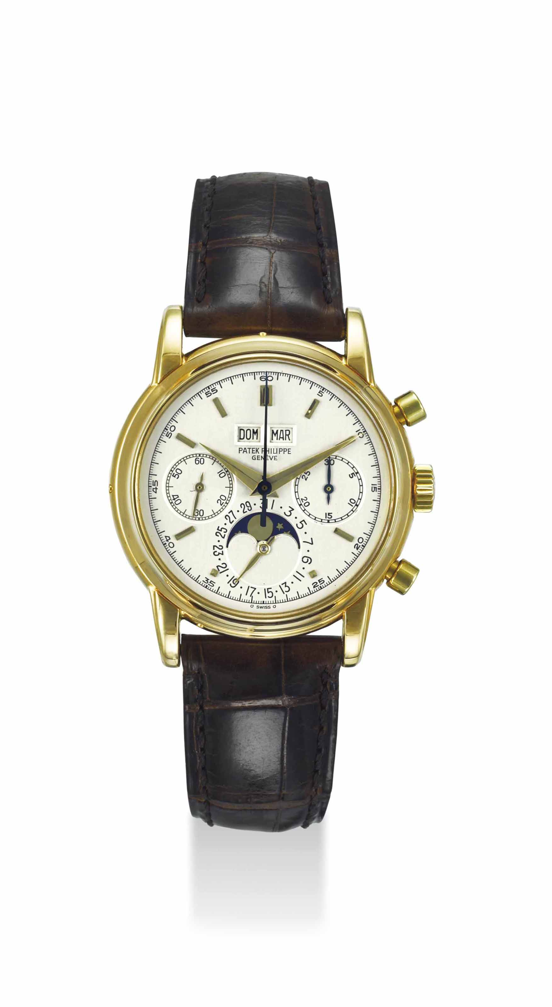 Patek philippe an extremely fine and rare 18k gold perpetual calendar chronograph wristwatch for Patek philippe geneve
