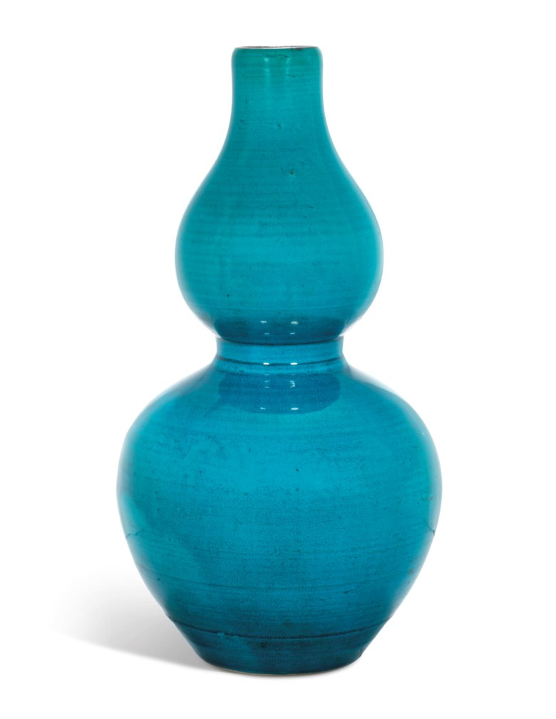 A turquoise-glazed double-gourd vase, Kangxi period (1662-1722). Estimate                    $4,000-6,000. This lot is offered in The Art of China Online Autumn Sale, 20-27 September 2017, Online