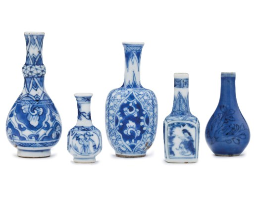 Four Miniature Blue And White Vases And A Miniature Blue Glazed Vase