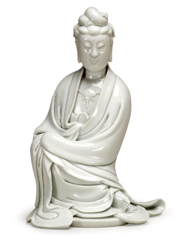 A dehua figure of seated guanyin, 19th century. Estimate                    $4,000-6,000. This lot is offered in The Art of China Online Autumn Sale, 20-27 September 2017, Online